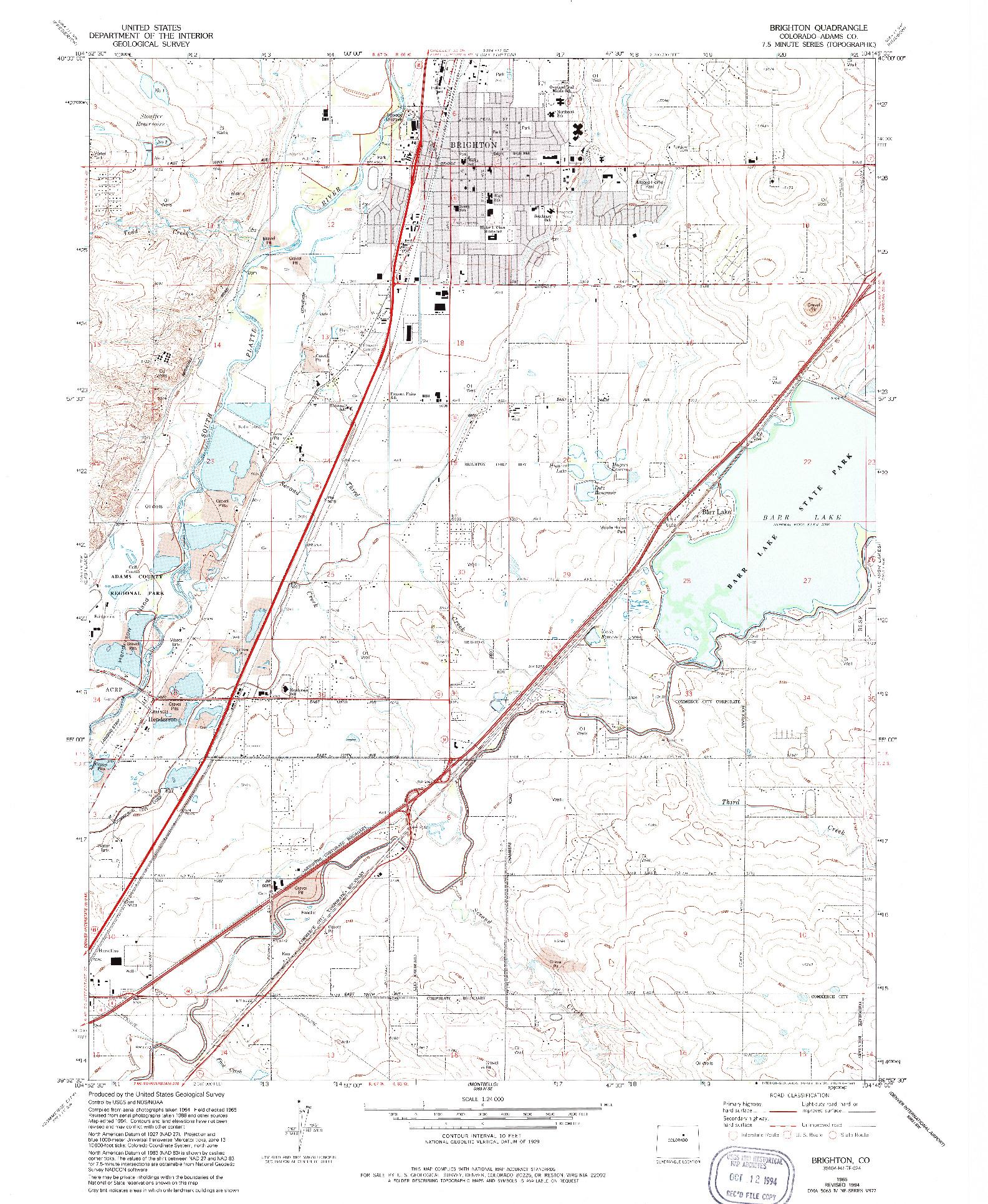 USGS 1:24000-SCALE QUADRANGLE FOR BRIGHTON, CO 1965