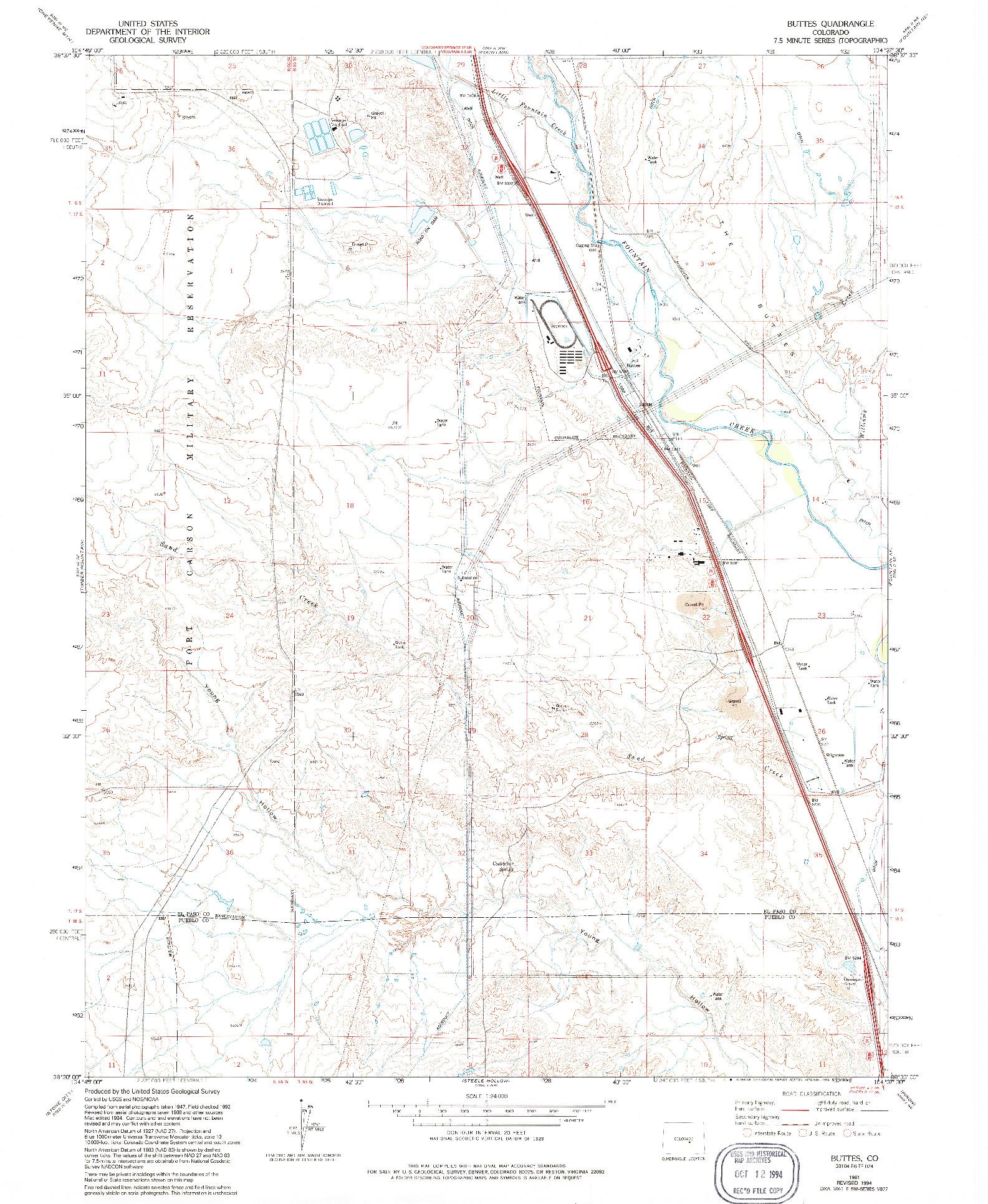 USGS 1:24000-SCALE QUADRANGLE FOR BUTTES, CO 1961