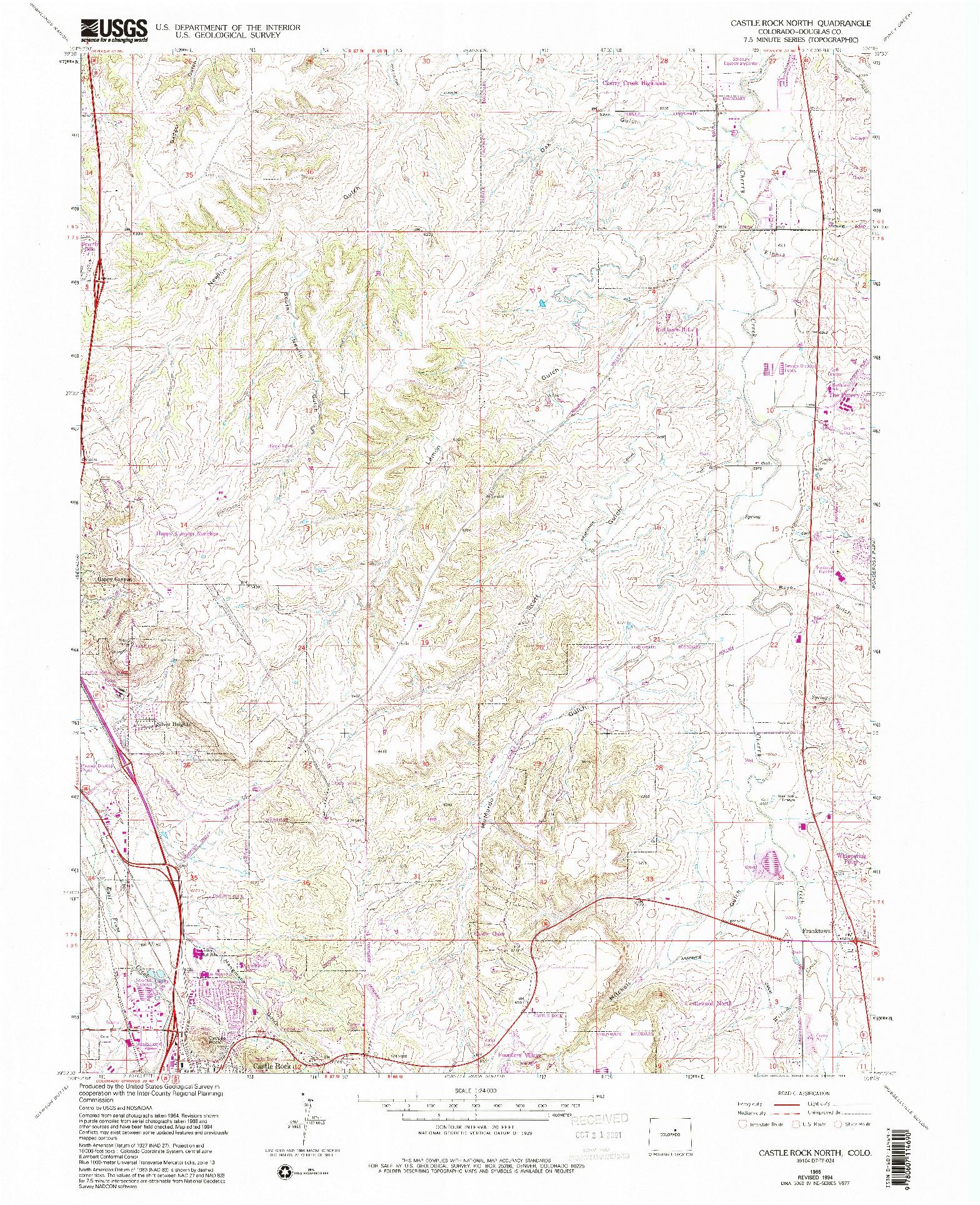 USGS 1:24000-SCALE QUADRANGLE FOR CASTLE ROCK NORTH, CO 1965
