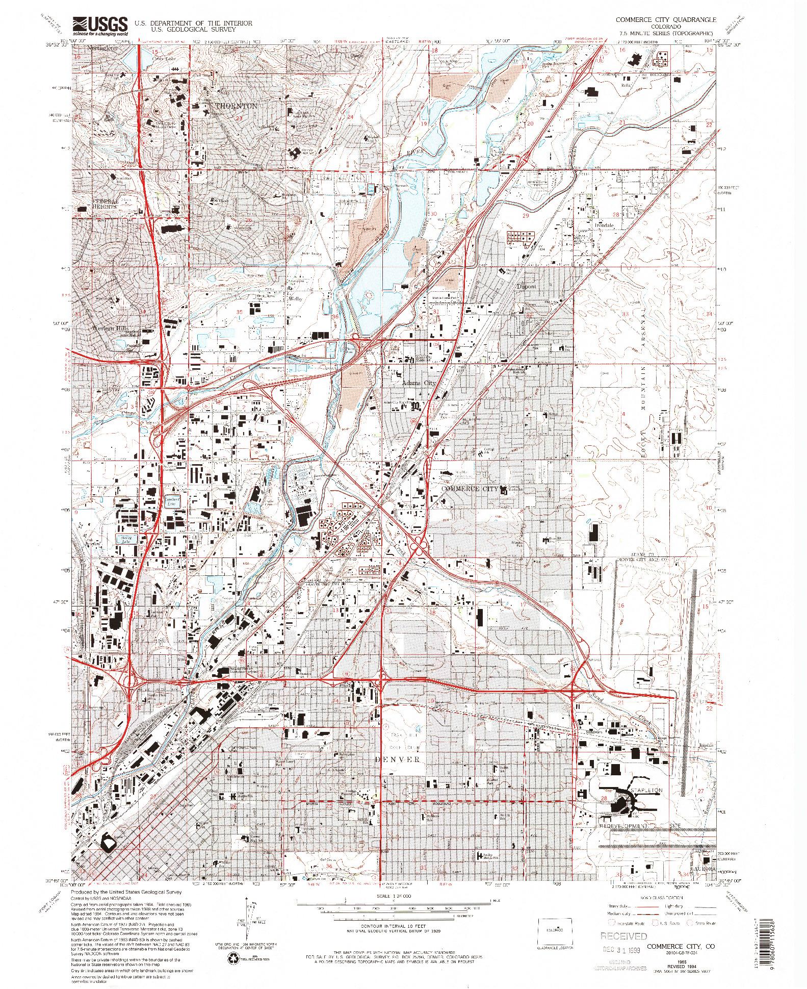 USGS 1:24000-SCALE QUADRANGLE FOR COMMERCE CITY, CO 1965