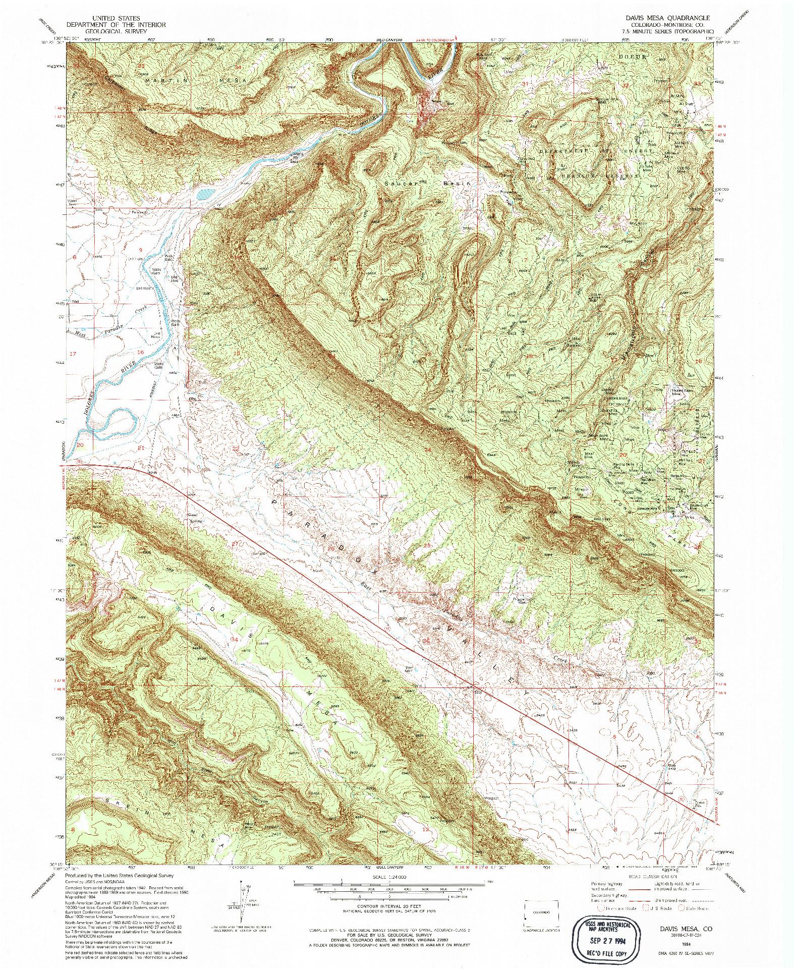 USGS 1:24000-SCALE QUADRANGLE FOR DAVIS MESA, CO 1994