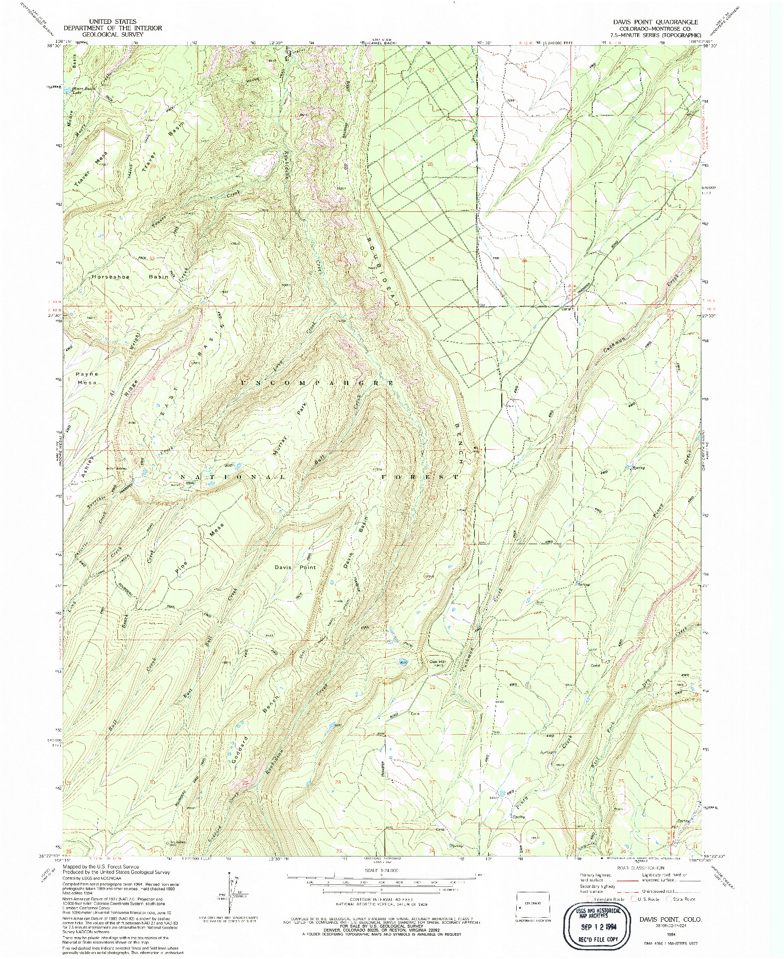 USGS 1:24000-SCALE QUADRANGLE FOR DAVIS POINT, CO 1994