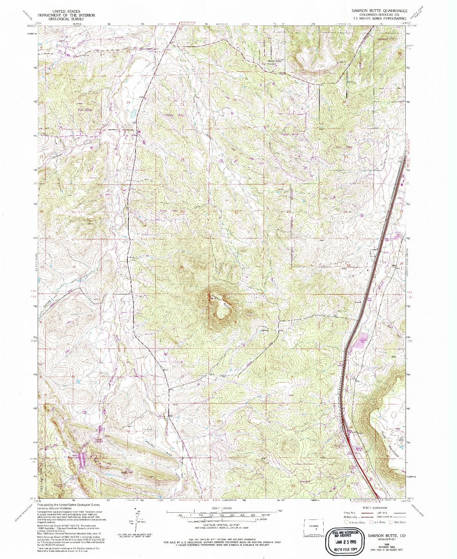 USGS 1:24000-SCALE QUADRANGLE FOR DAWSON BUTTE, CO 1965