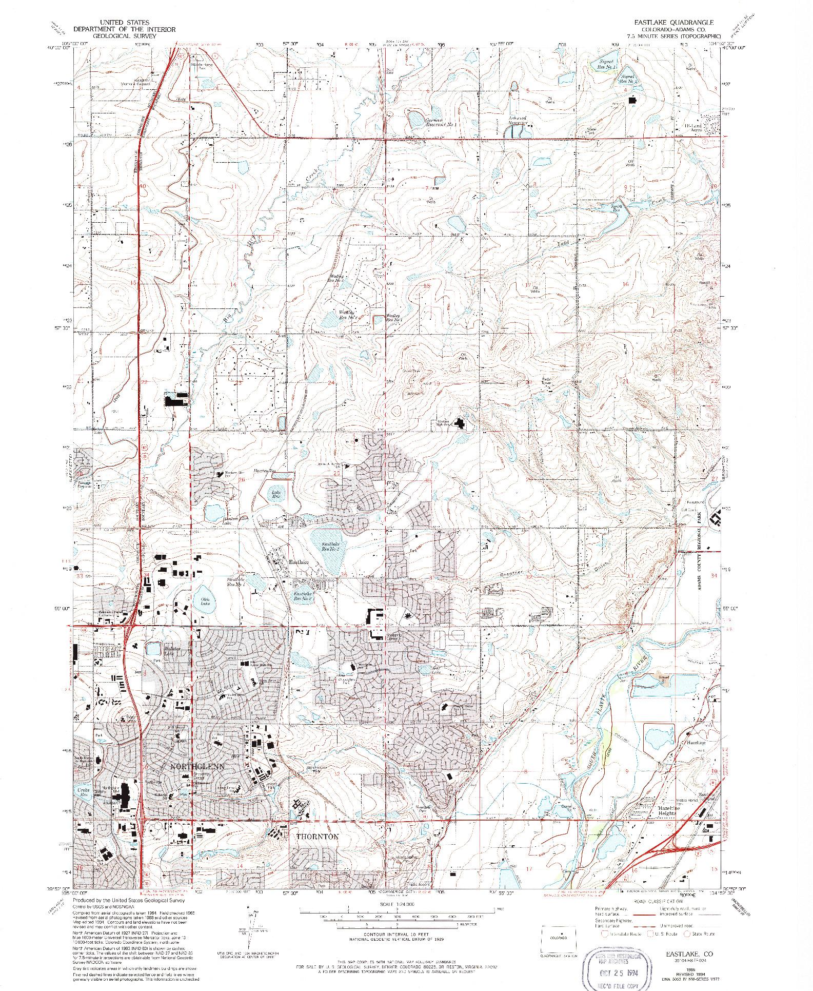 USGS 1:24000-SCALE QUADRANGLE FOR EASTLAKE, CO 1965