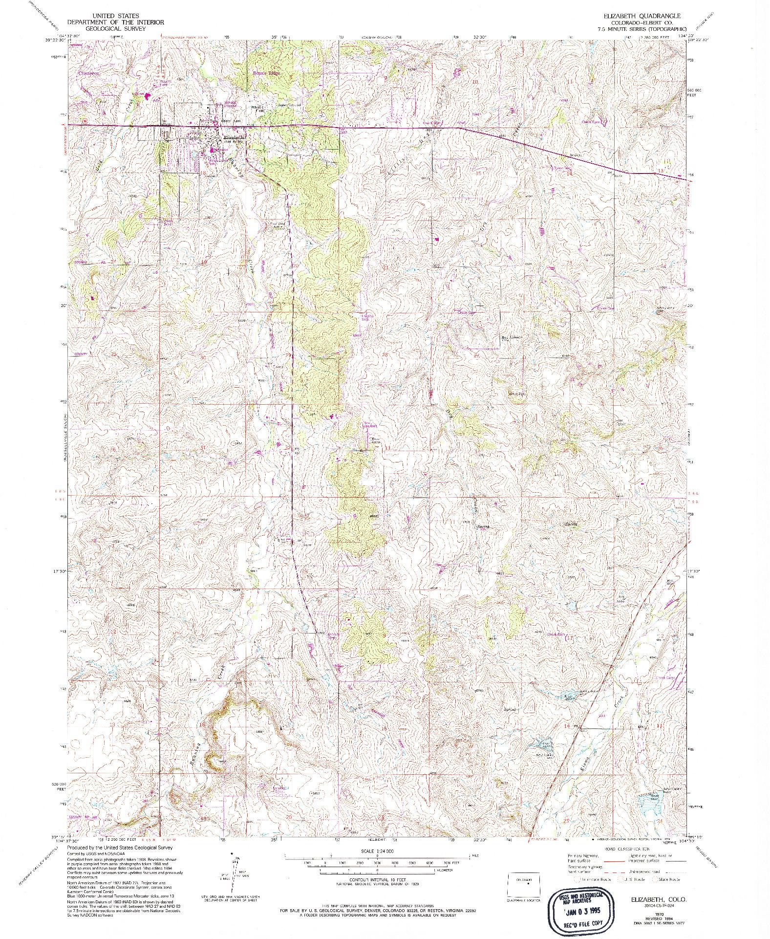 USGS 1:24000-SCALE QUADRANGLE FOR ELIZABETH, CO 1970