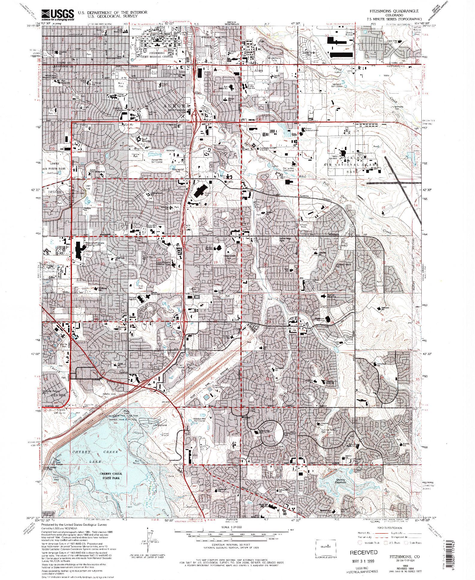 USGS 1:24000-SCALE QUADRANGLE FOR FITZSIMONS, CO 1965