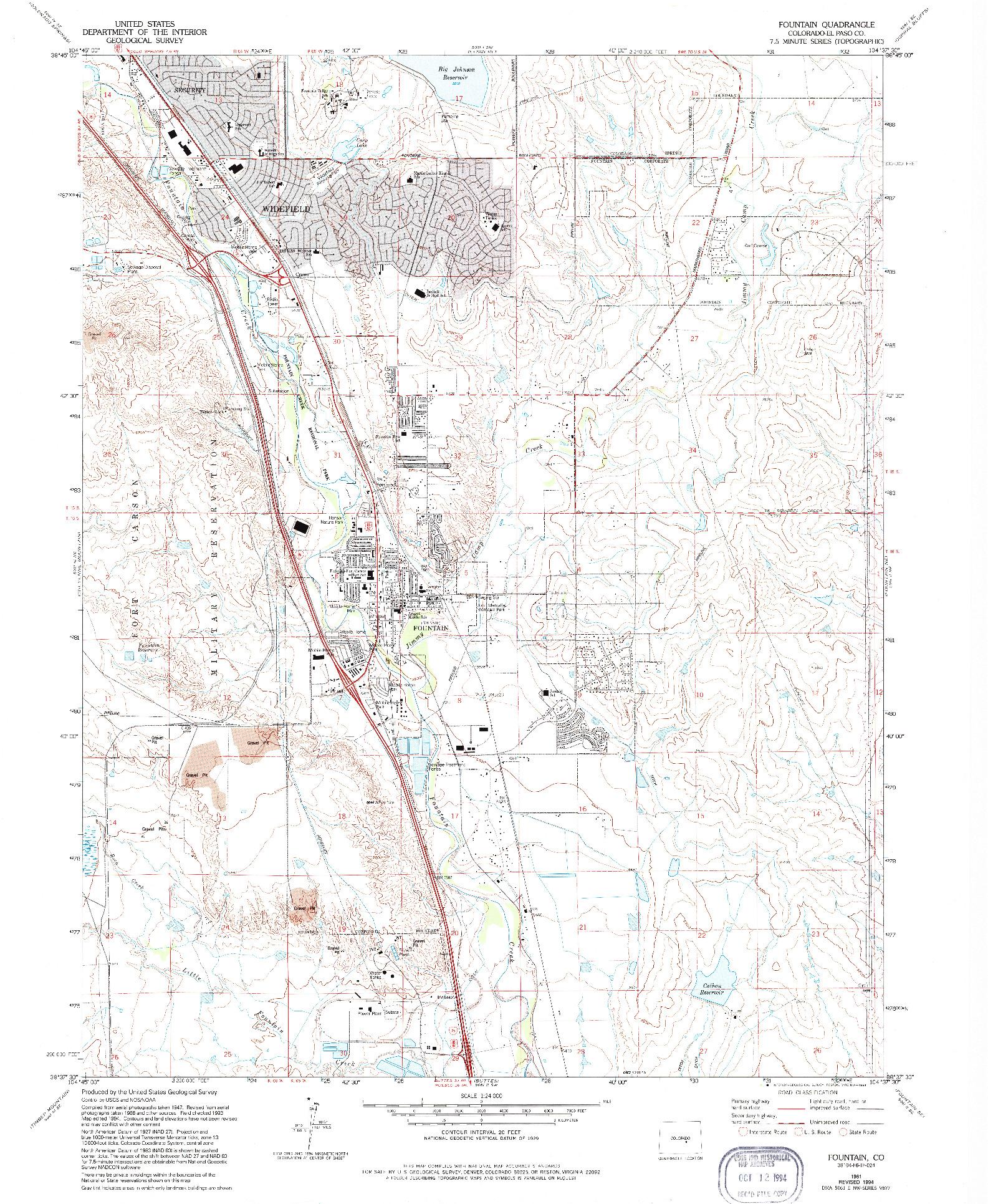 USGS 1:24000-SCALE QUADRANGLE FOR FOUNTAIN, CO 1961