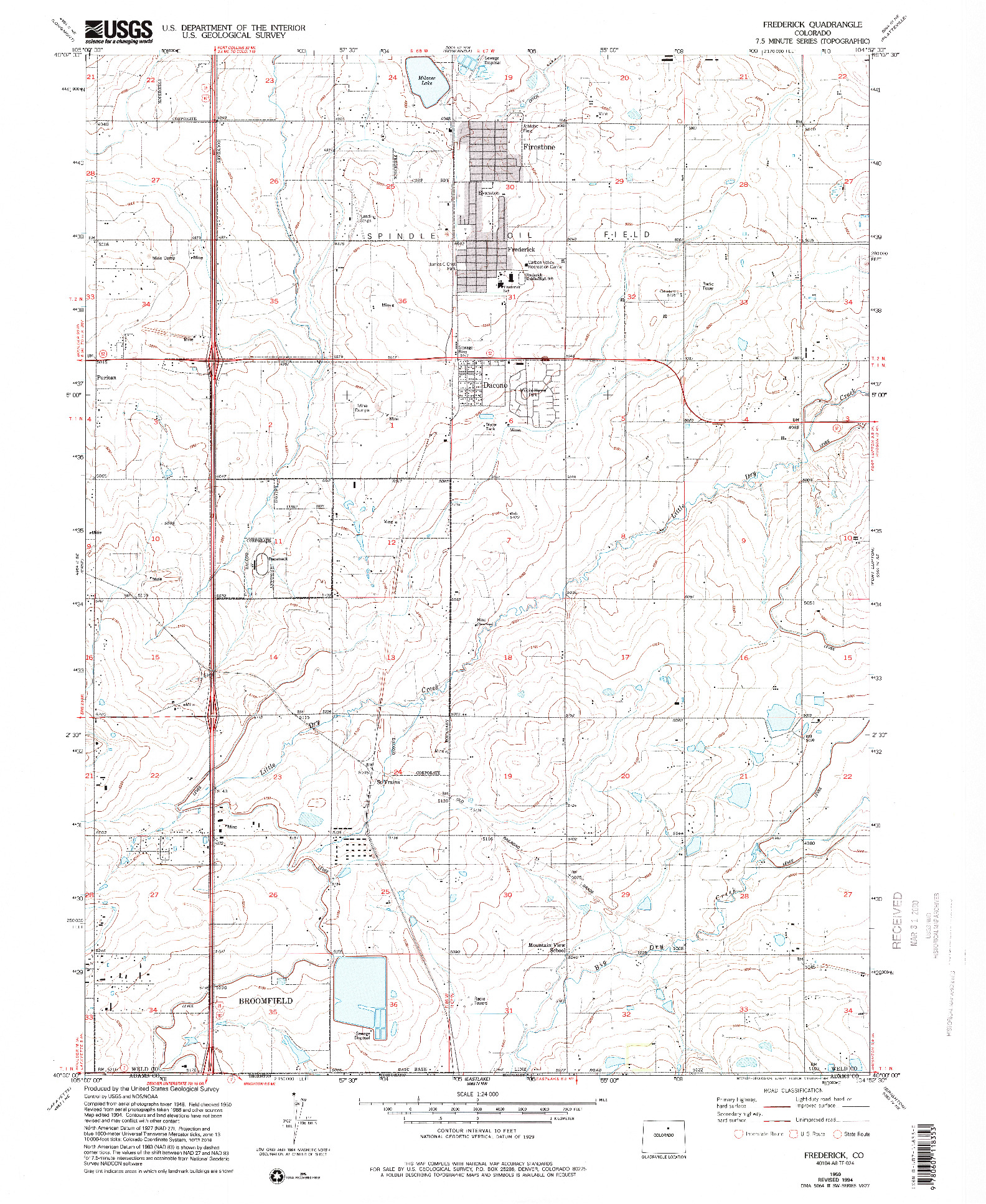 USGS 1:24000-SCALE QUADRANGLE FOR FREDERICK, CO 1950