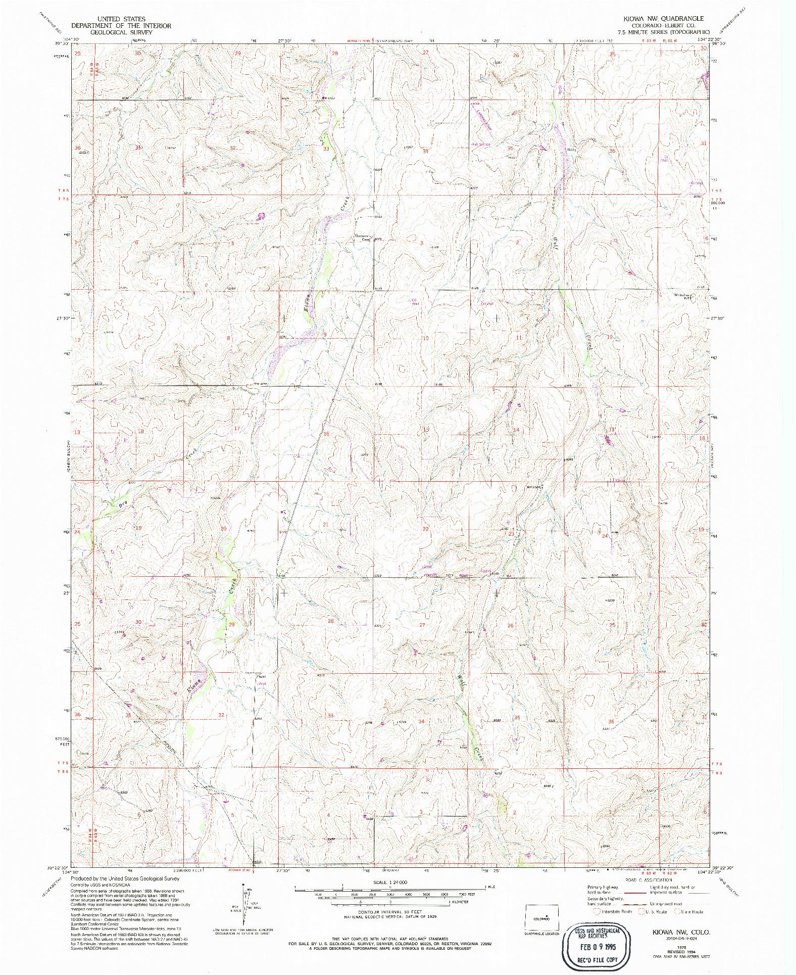 USGS 1:24000-SCALE QUADRANGLE FOR KIOWA NW, CO 1970