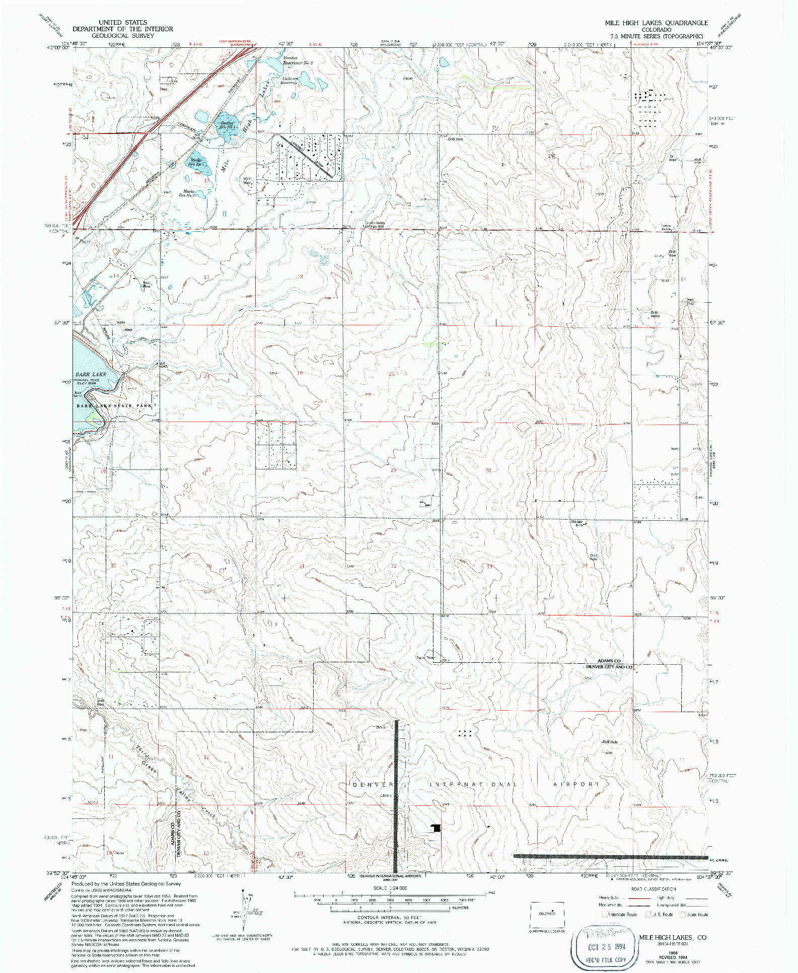 USGS 1:24000-SCALE QUADRANGLE FOR MILE HIGH LAKES, CO 1966