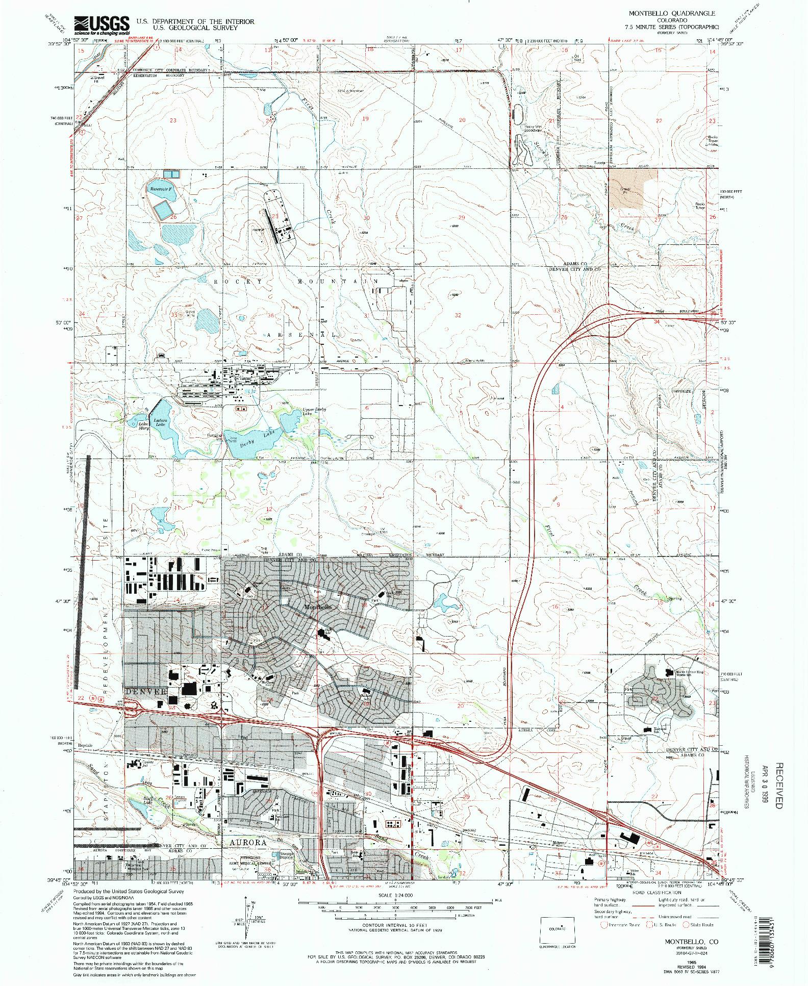 USGS 1:24000-SCALE QUADRANGLE FOR MONTBELLO, CO 1965