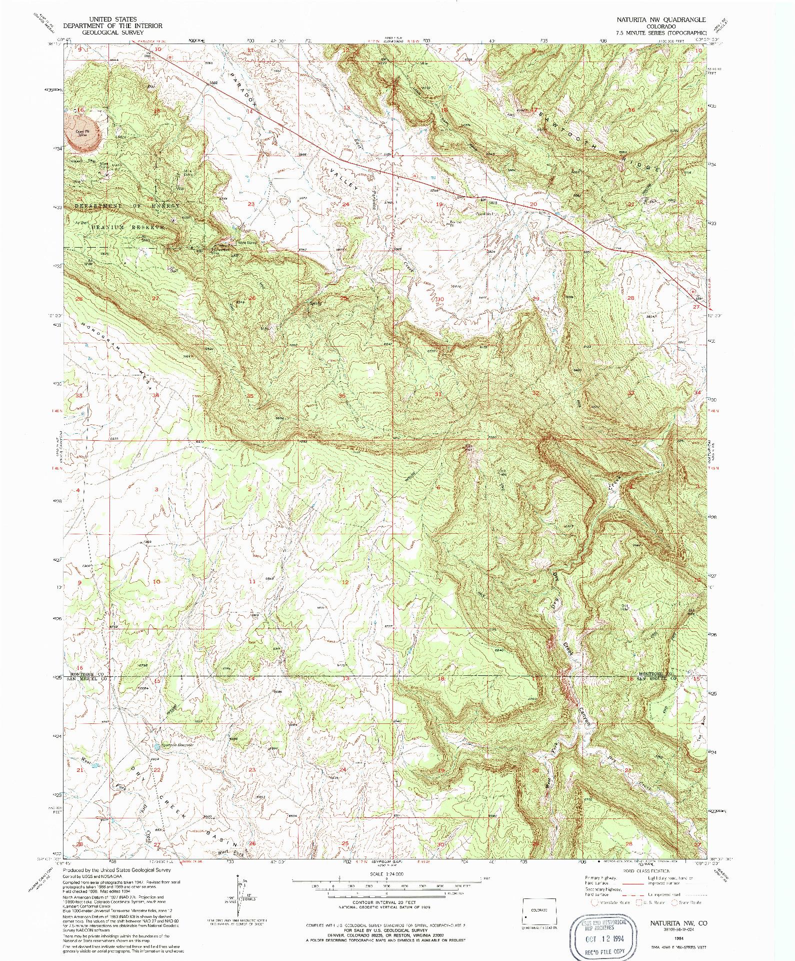 USGS 1:24000-SCALE QUADRANGLE FOR NATURITA NW, CO 1994