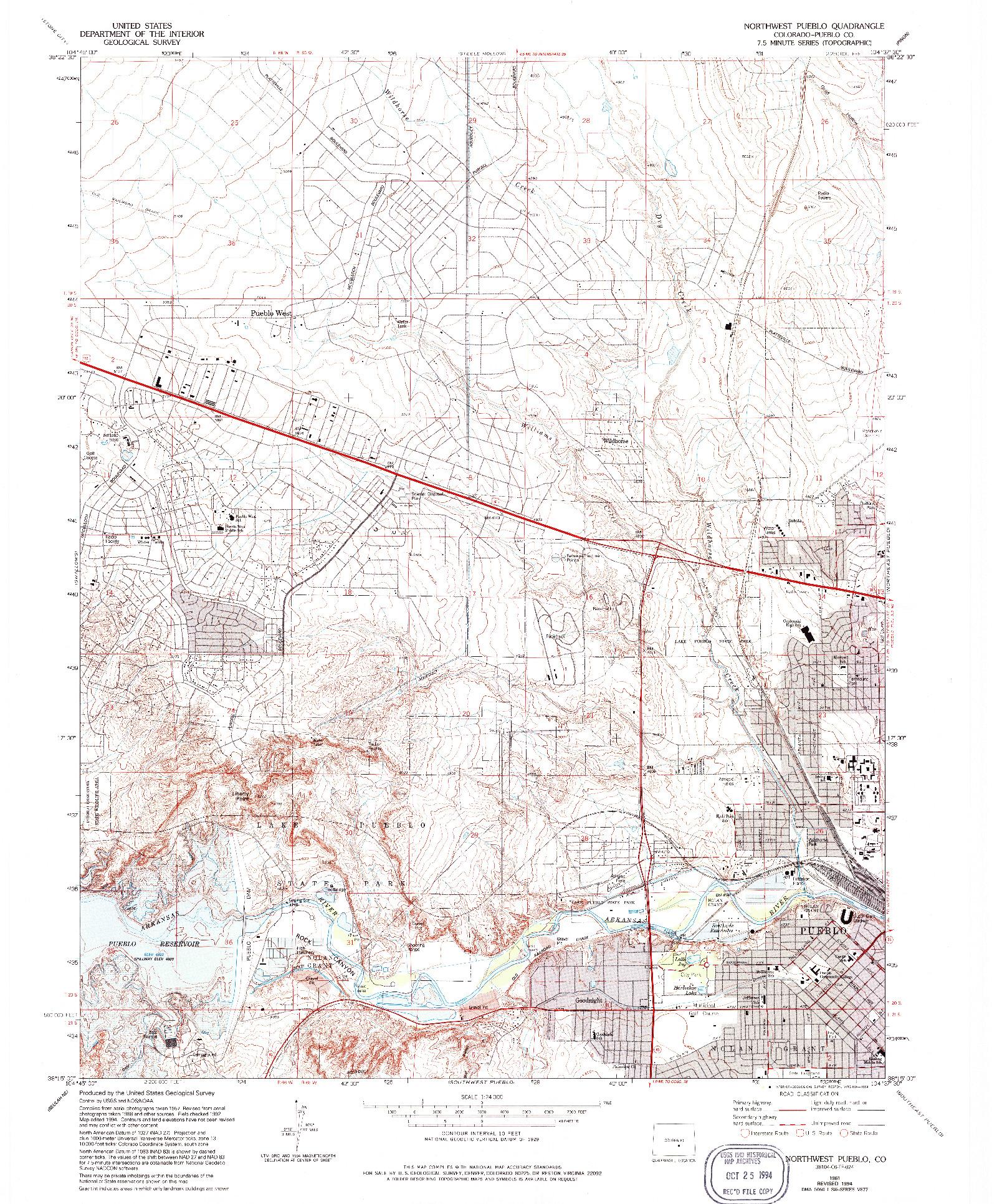USGS 1:24000-SCALE QUADRANGLE FOR NORTHWEST PUEBLO, CO 1961