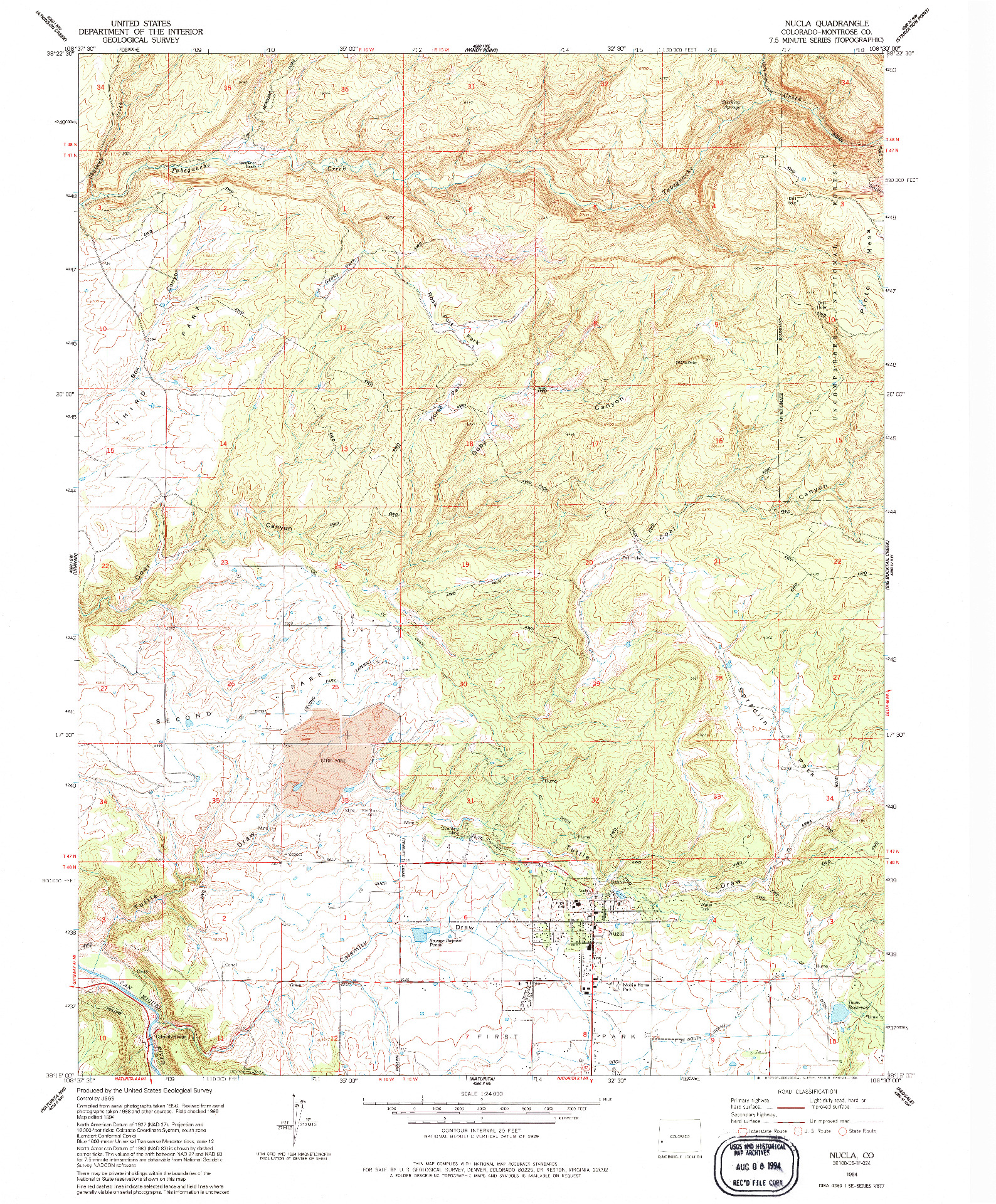 USGS 1:24000-SCALE QUADRANGLE FOR NUCLA, CO 1994