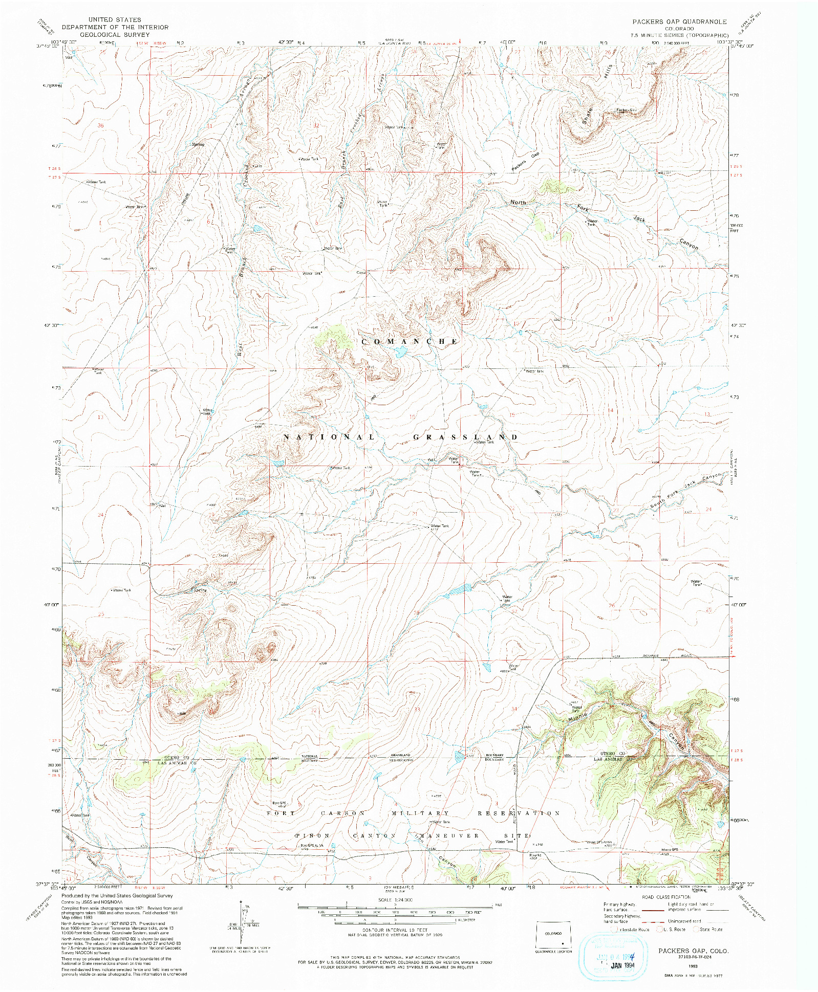 USGS 1:24000-SCALE QUADRANGLE FOR PACKERS GAP, CO 1993