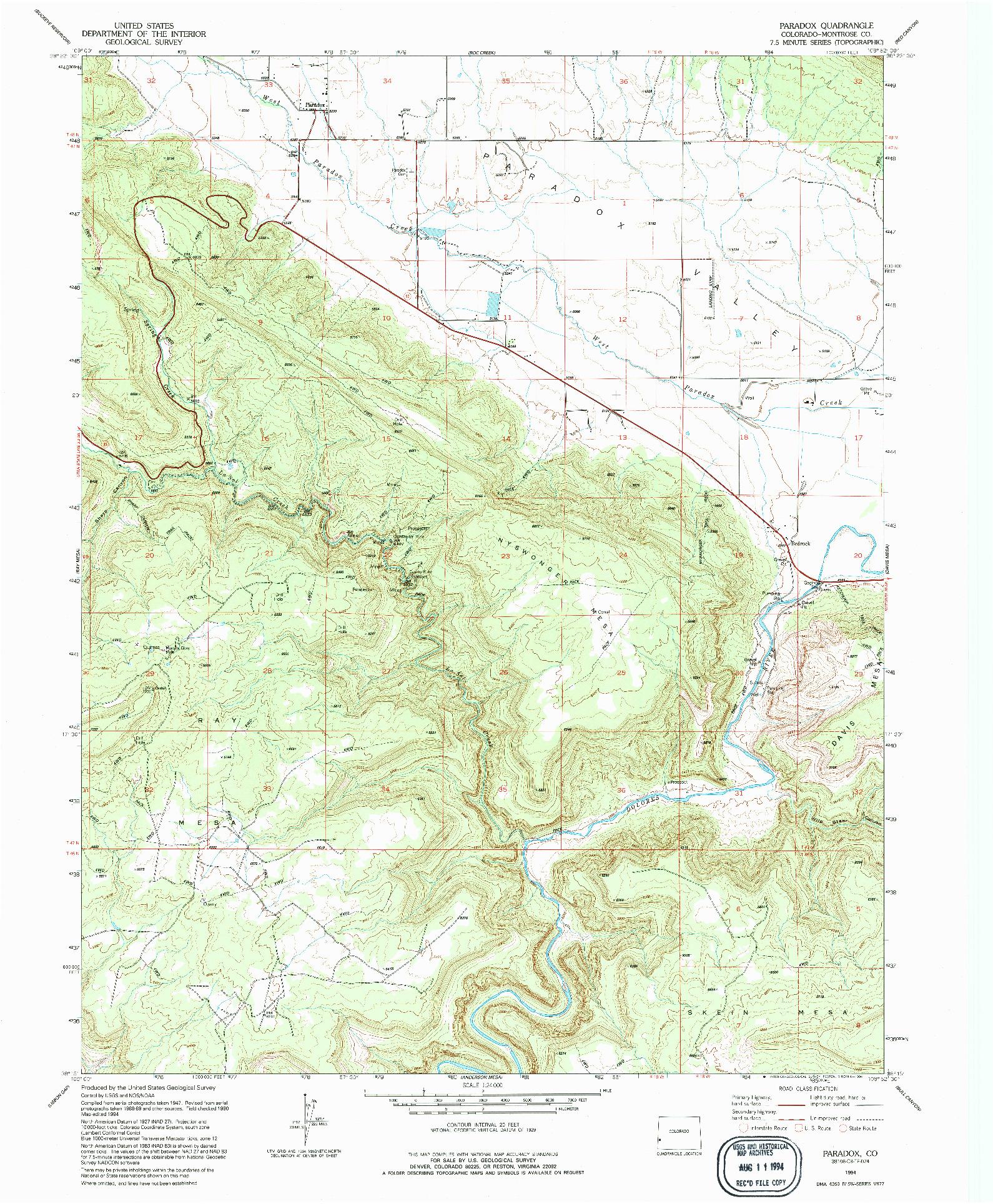 USGS 1:24000-SCALE QUADRANGLE FOR PARADOX, CO 1994
