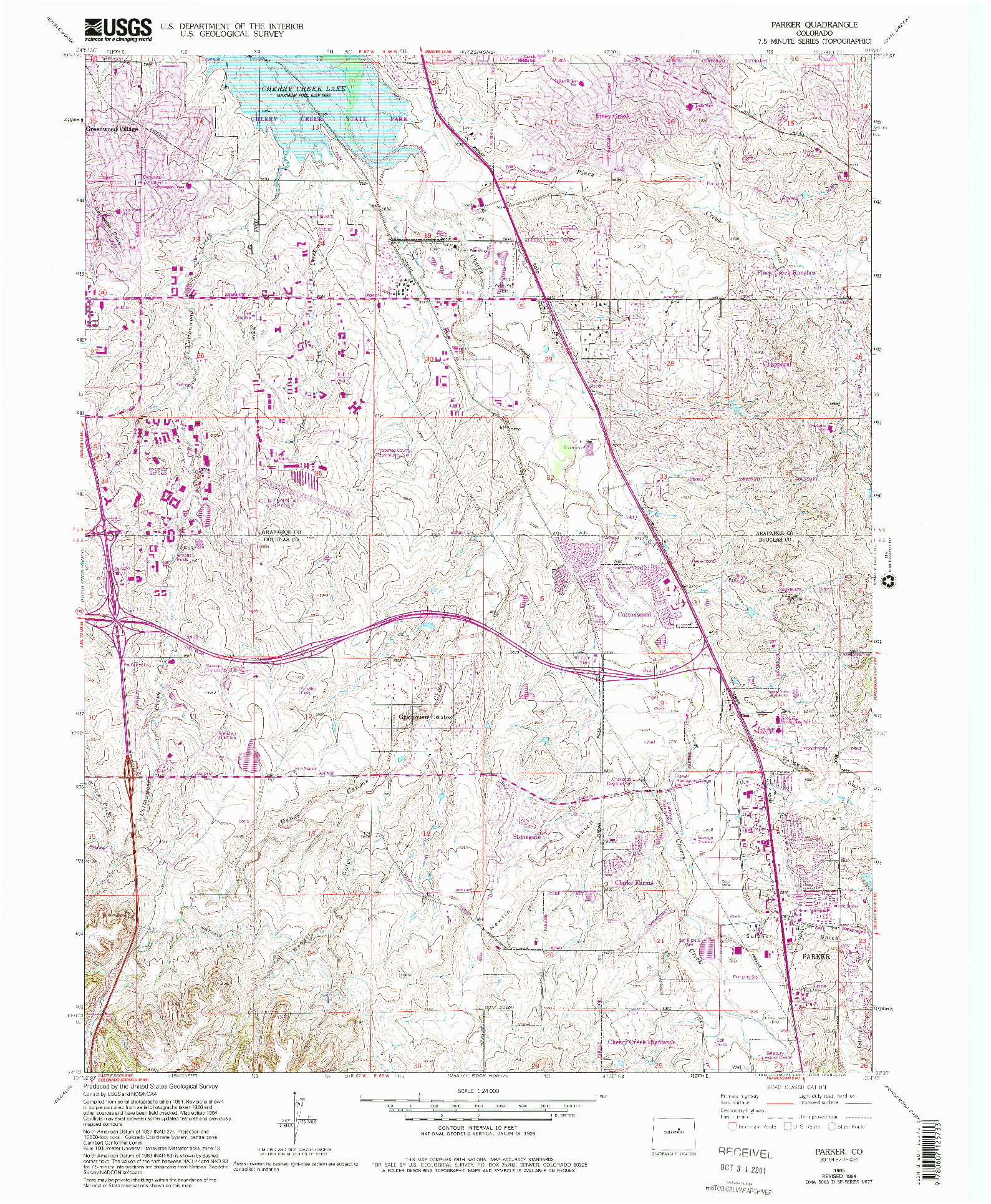USGS 1:24000-SCALE QUADRANGLE FOR PARKER, CO 1965