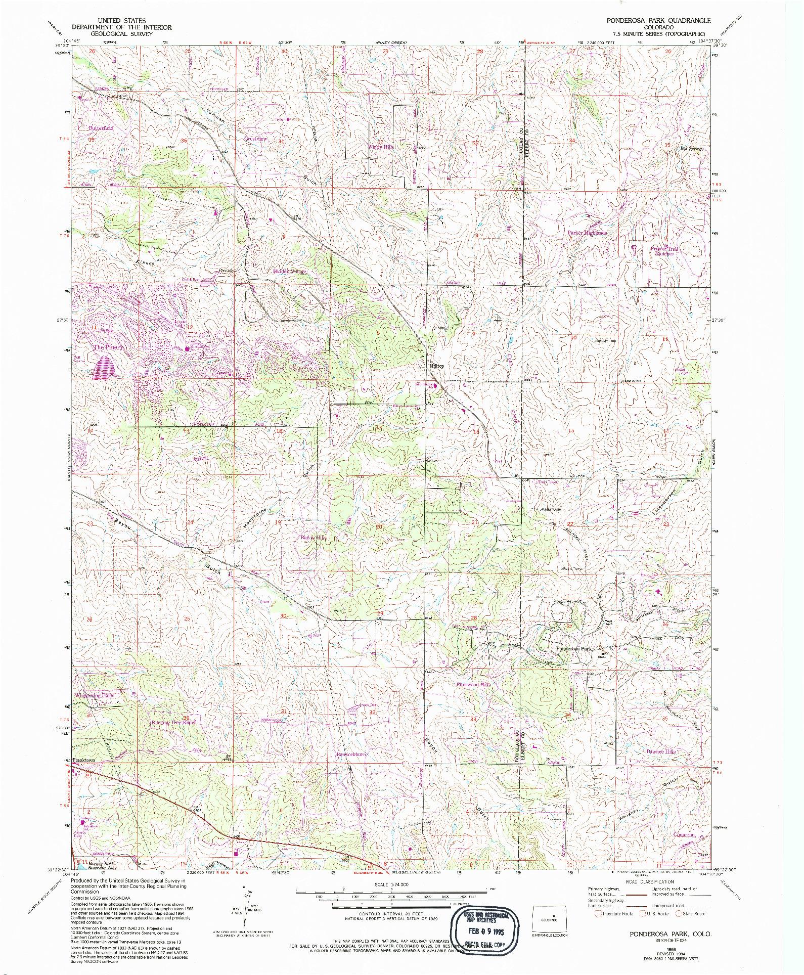 USGS 1:24000-SCALE QUADRANGLE FOR PONDEROSA PARK, CO 1966