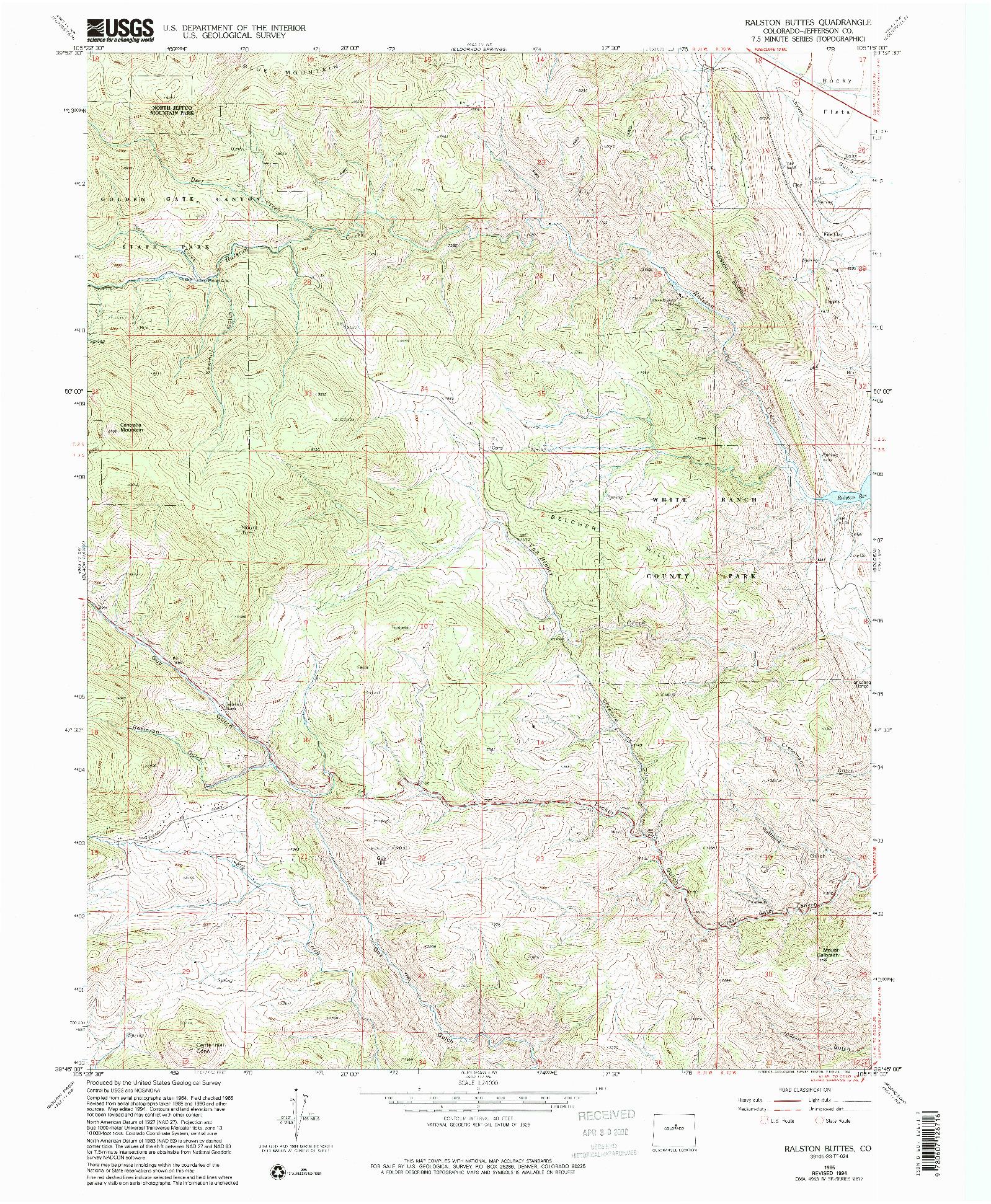 USGS 1:24000-SCALE QUADRANGLE FOR RALSTON BUTTES, CO 1965