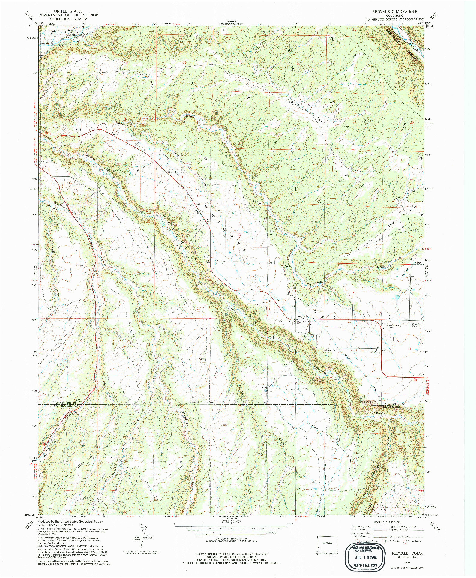 USGS 1:24000-SCALE QUADRANGLE FOR REDVALE, CO 1994