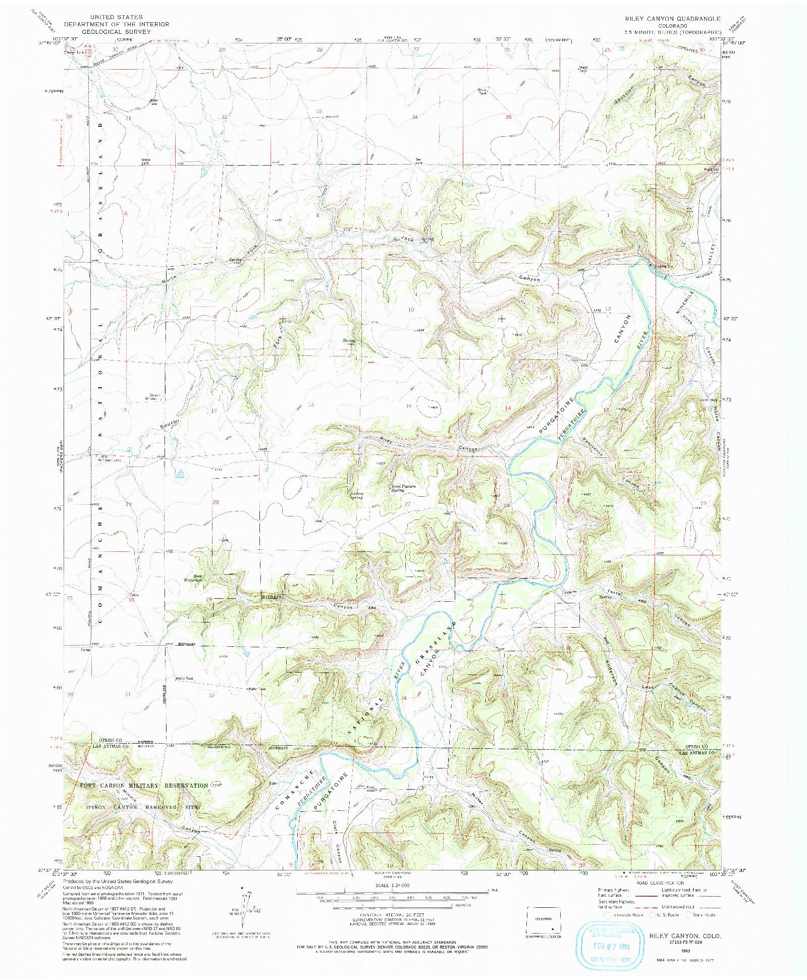 USGS 1:24000-SCALE QUADRANGLE FOR RILEY CANYON, CO 1993