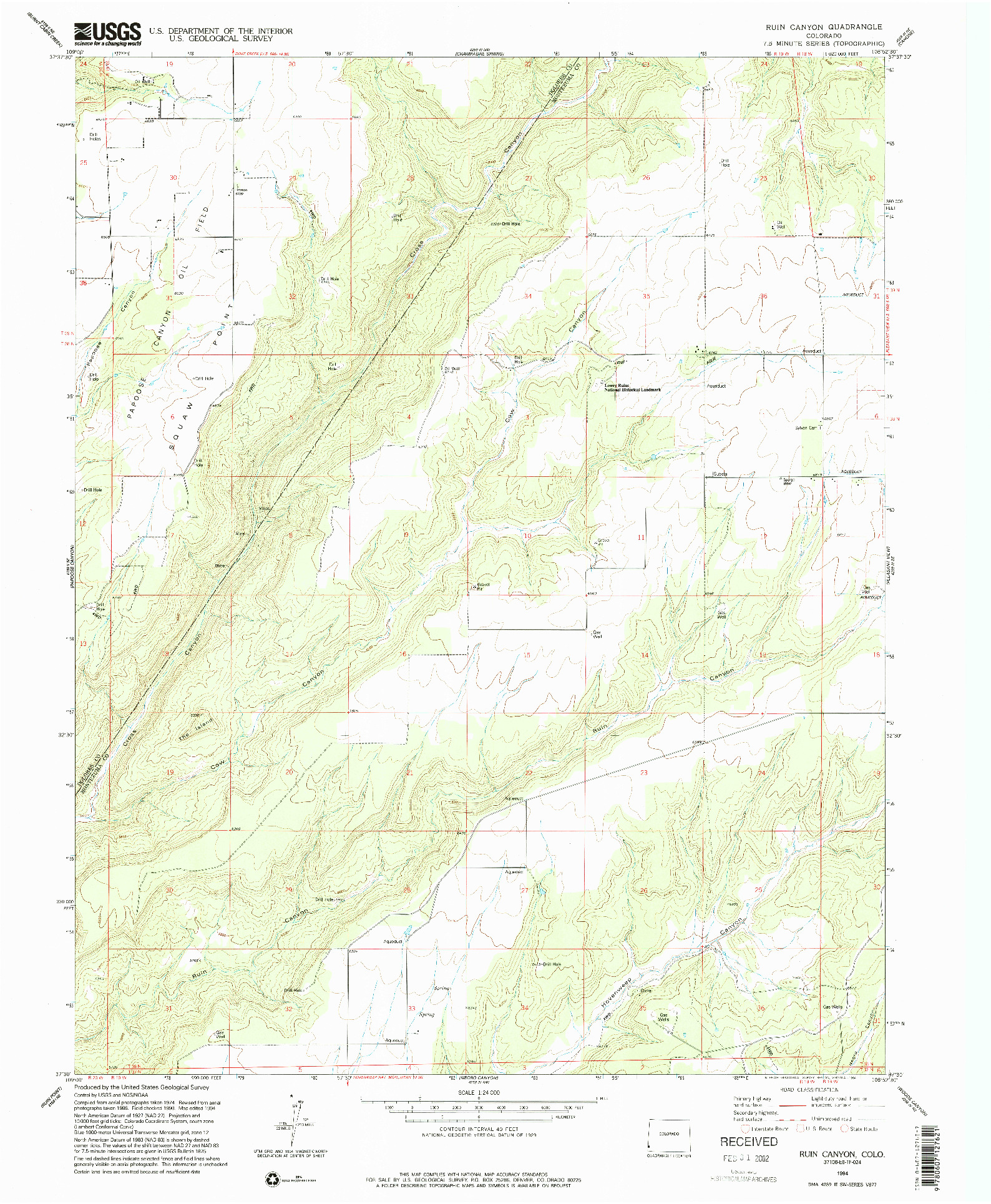 USGS 1:24000-SCALE QUADRANGLE FOR RUIN CANYON, CO 1994