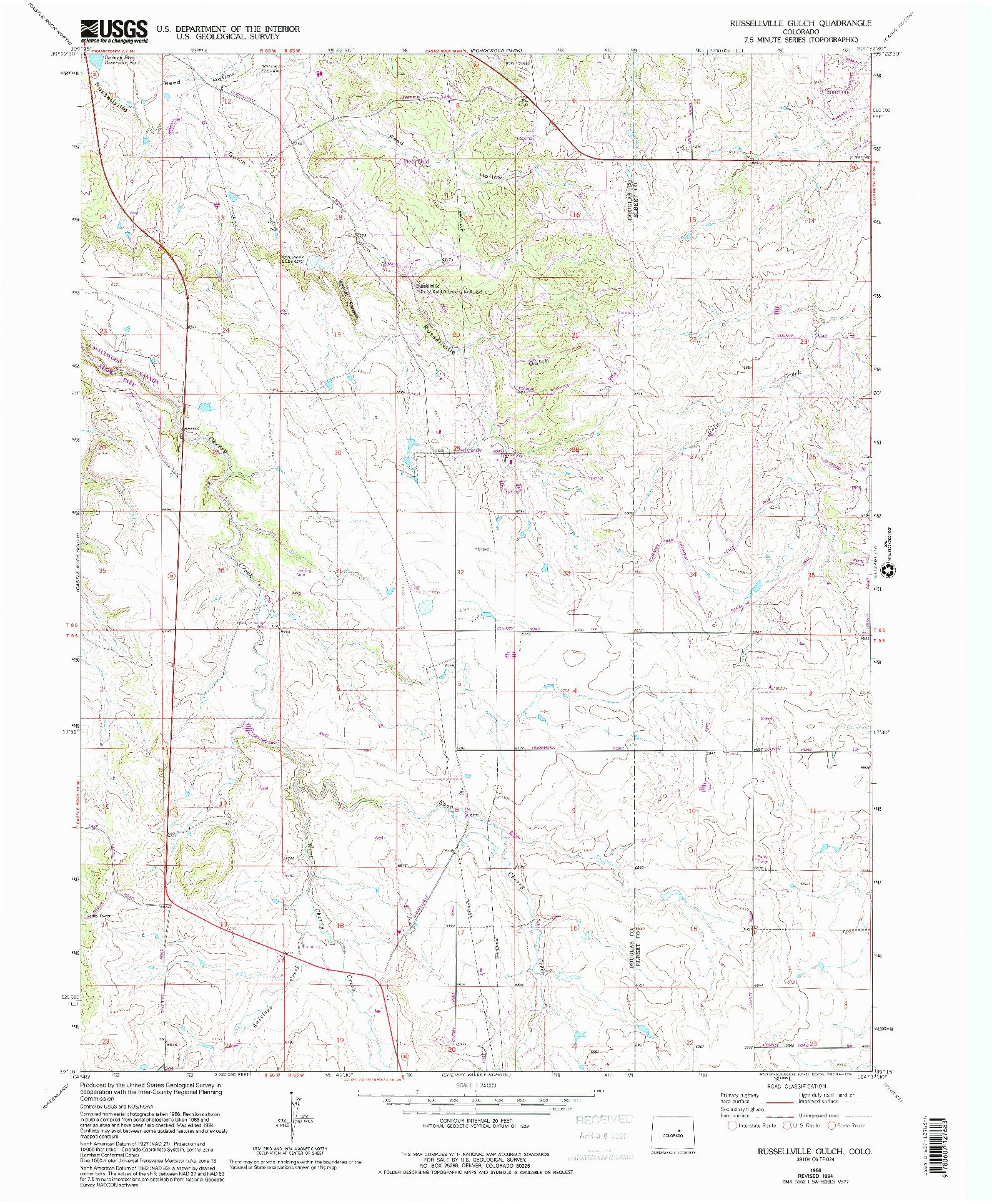 USGS 1:24000-SCALE QUADRANGLE FOR RUSSELLVILLE GULCH, CO 1966