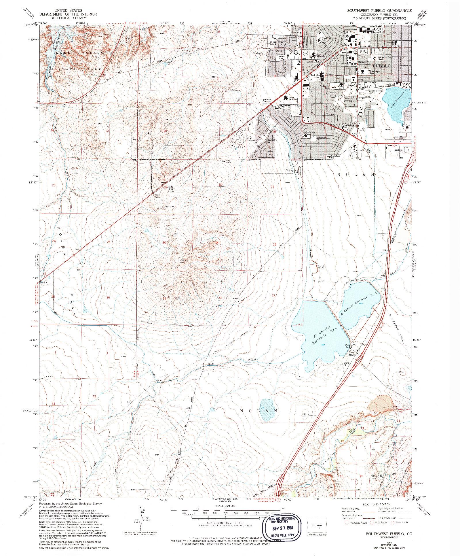 USGS 1:24000-SCALE QUADRANGLE FOR SOUTHWEST PUEBLO, CO 1961