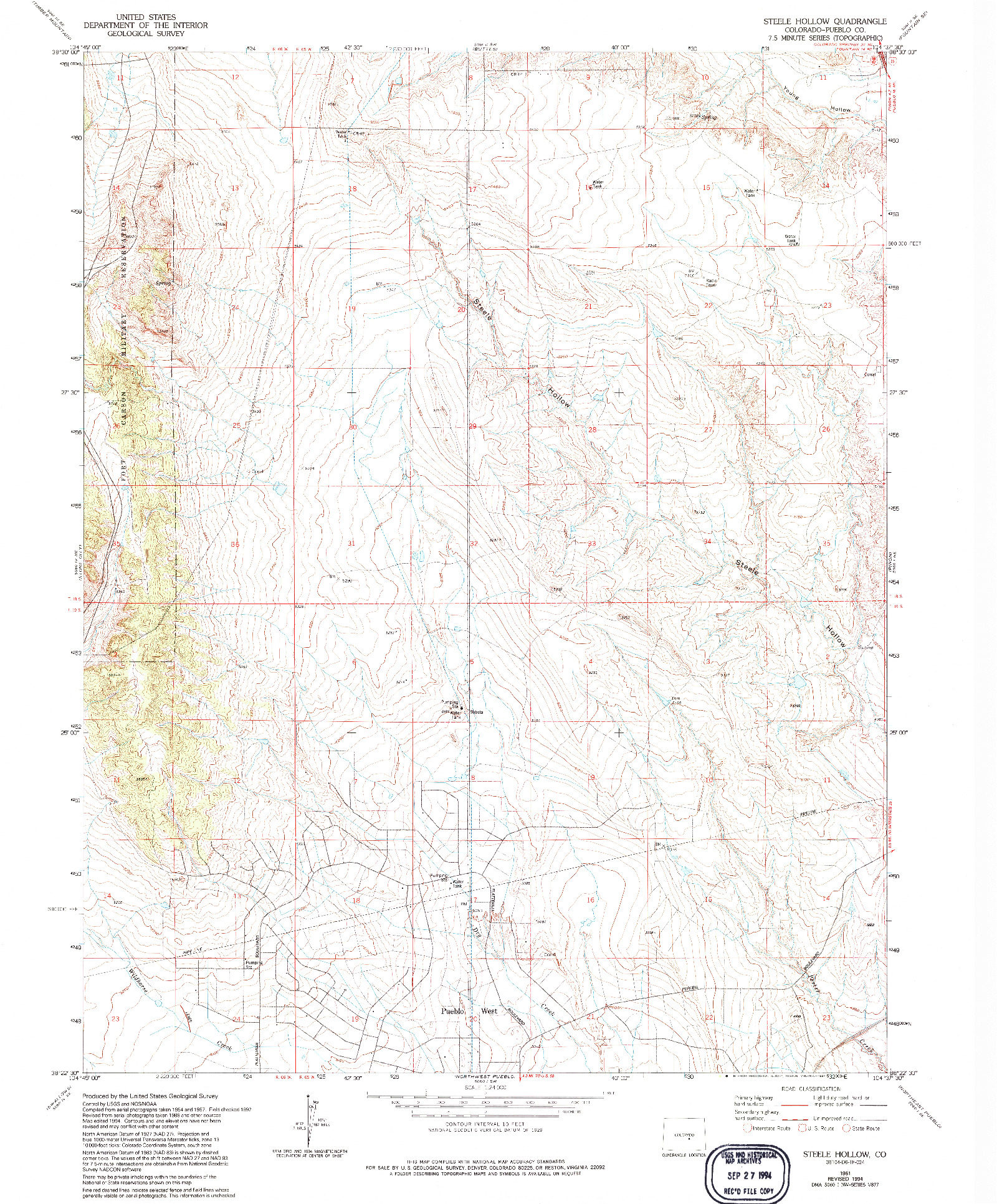 USGS 1:24000-SCALE QUADRANGLE FOR STEELE HOLLOW, CO 1961