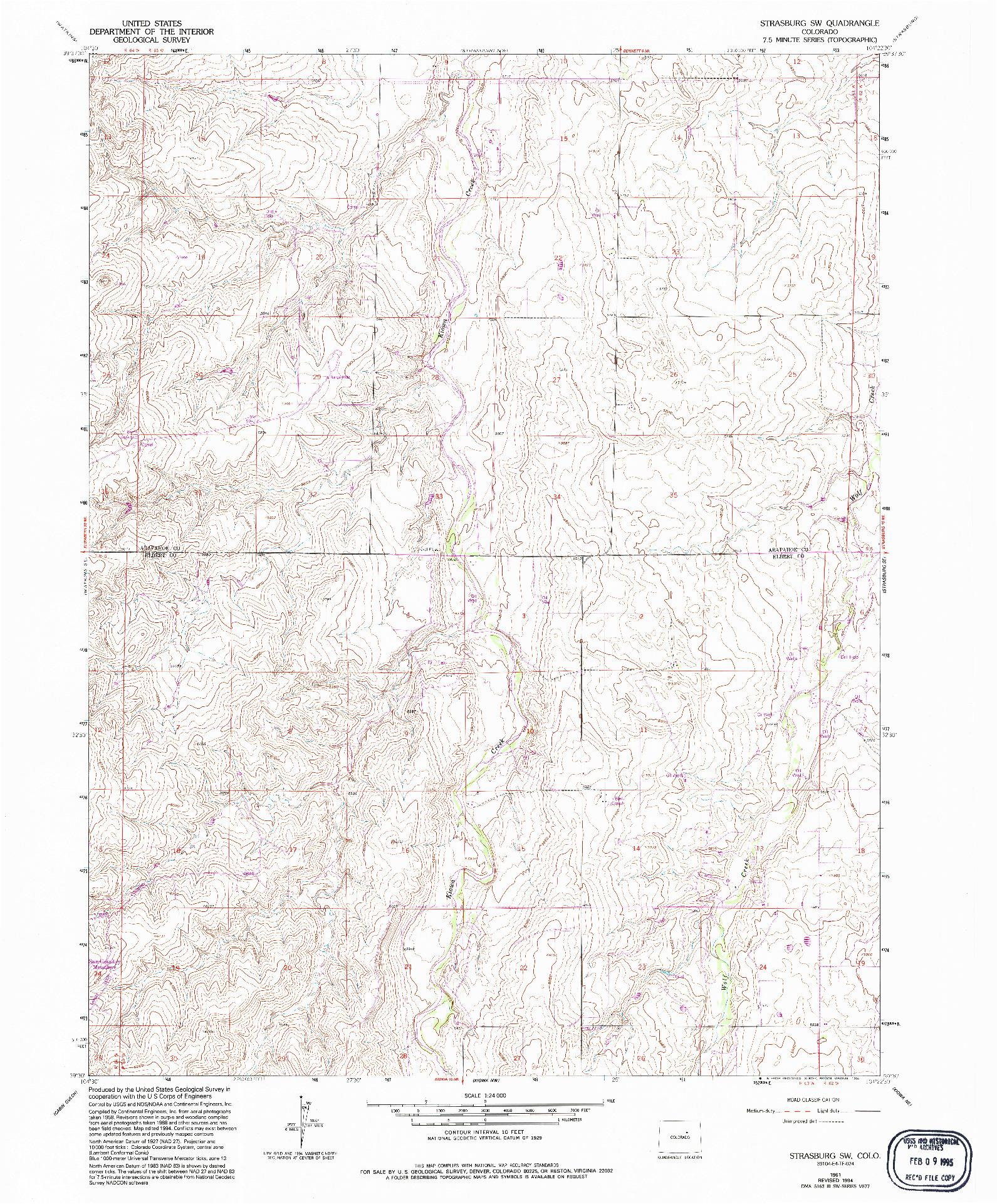USGS 1:24000-SCALE QUADRANGLE FOR STRASBURG SW, CO 1961