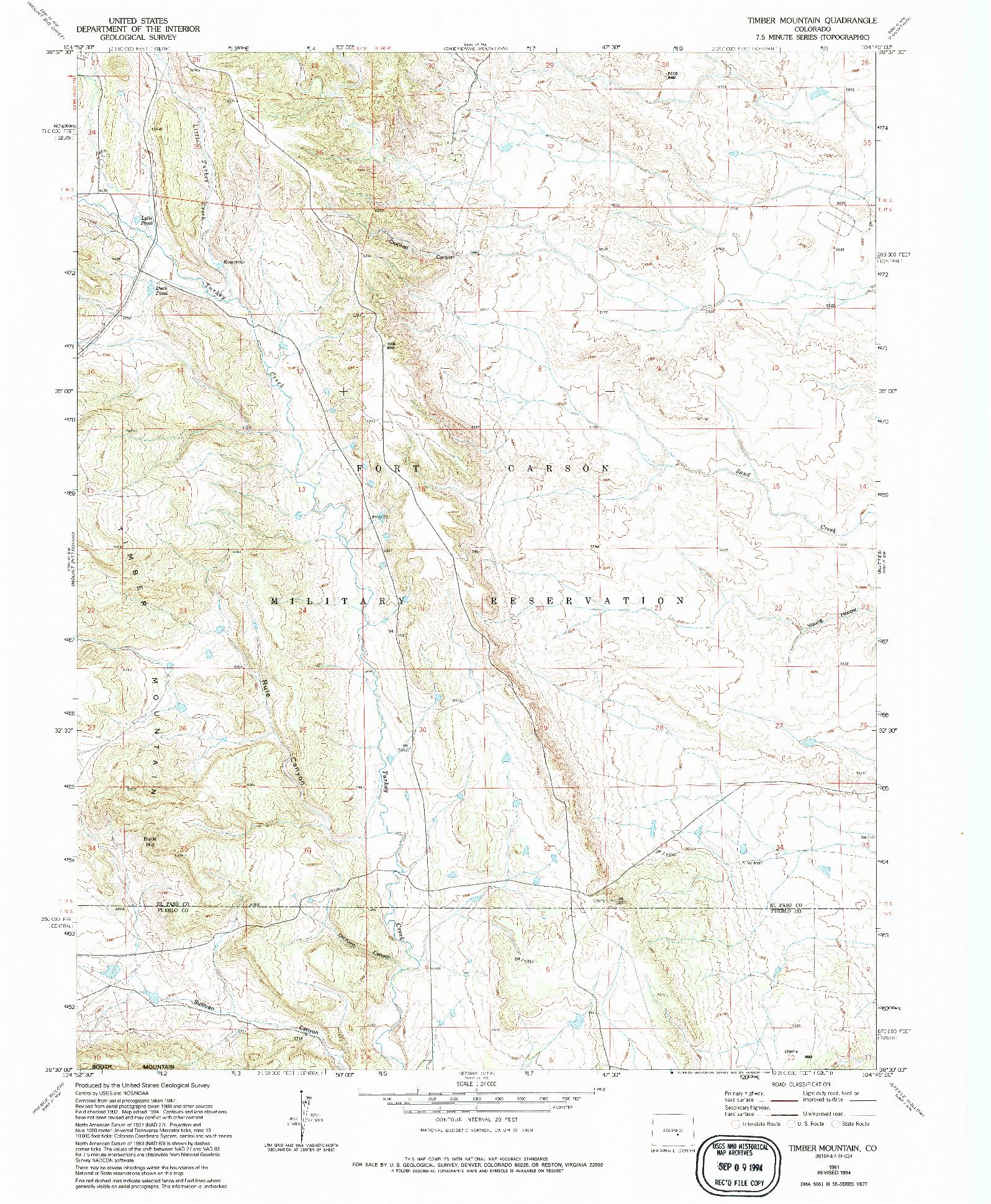 USGS 1:24000-SCALE QUADRANGLE FOR TIMBER MOUNTAIN, CO 1961