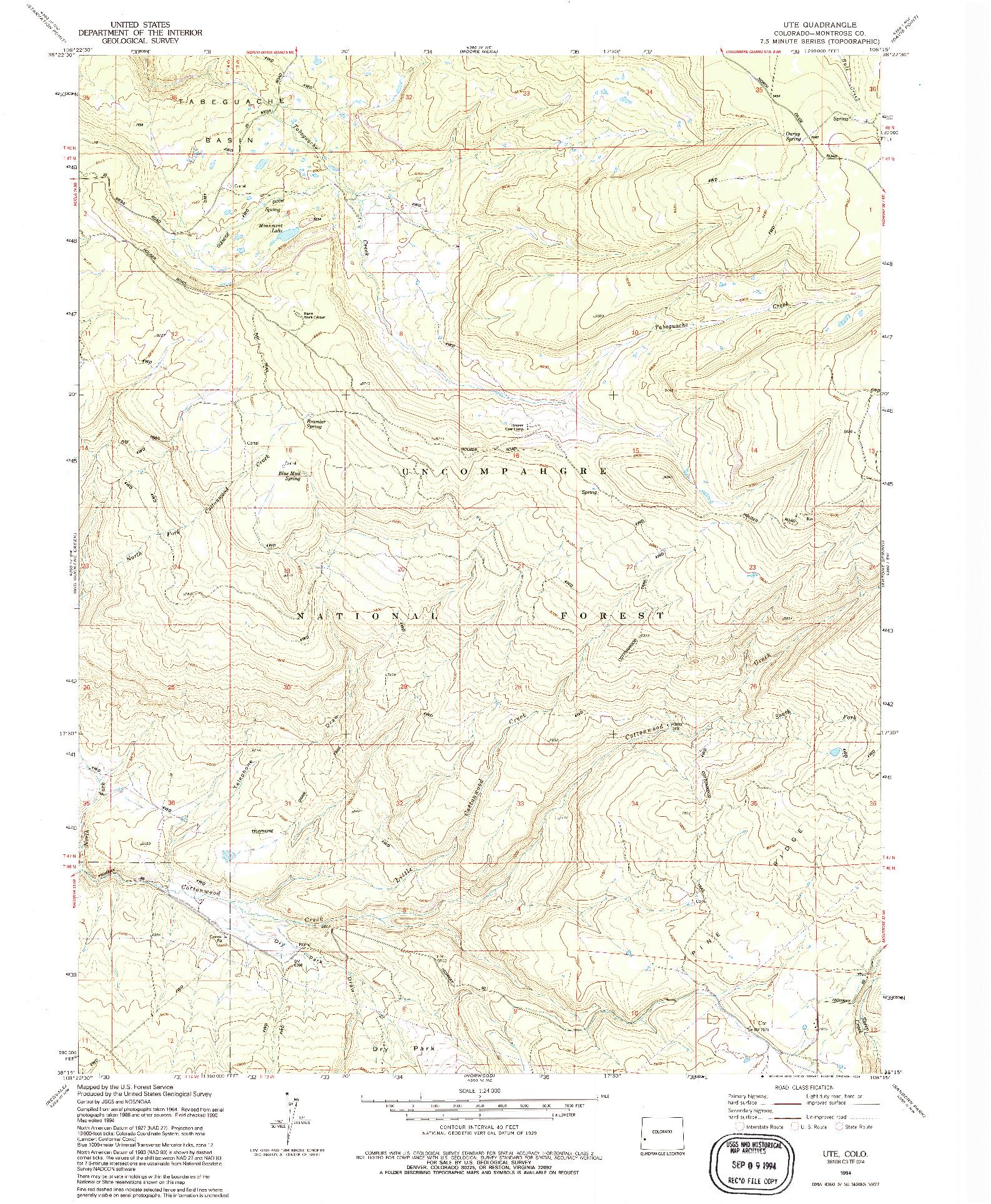 USGS 1:24000-SCALE QUADRANGLE FOR UTE, CO 1994