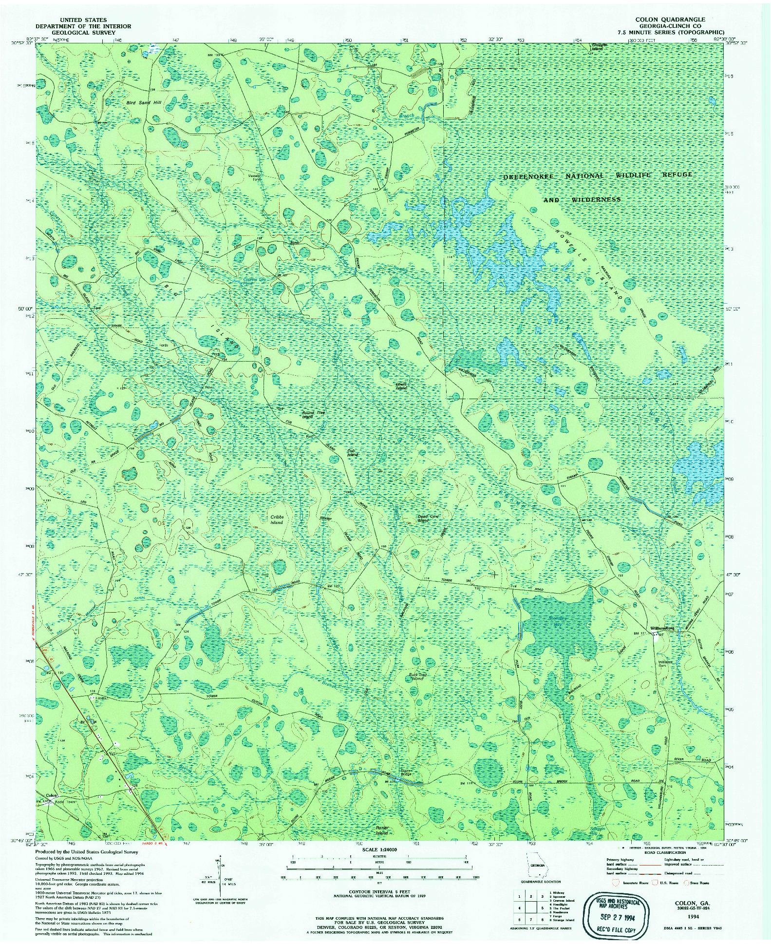 USGS 1:24000-SCALE QUADRANGLE FOR COLON, GA 1994