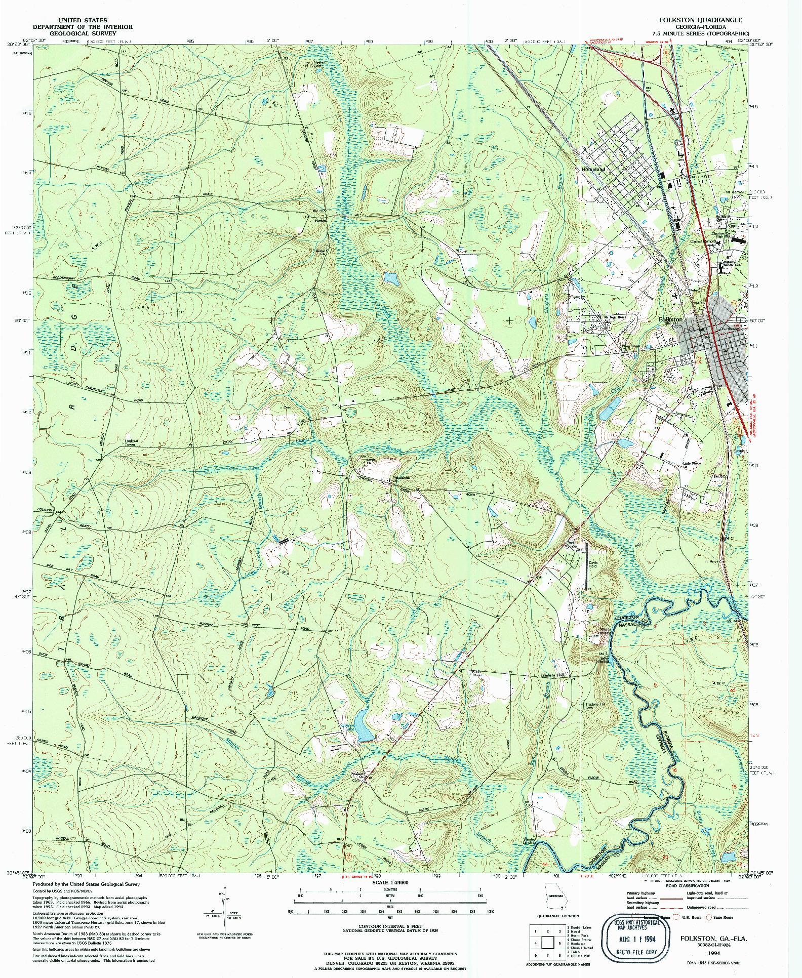 USGS 1:24000-SCALE QUADRANGLE FOR FOLKSTON, GA 1994