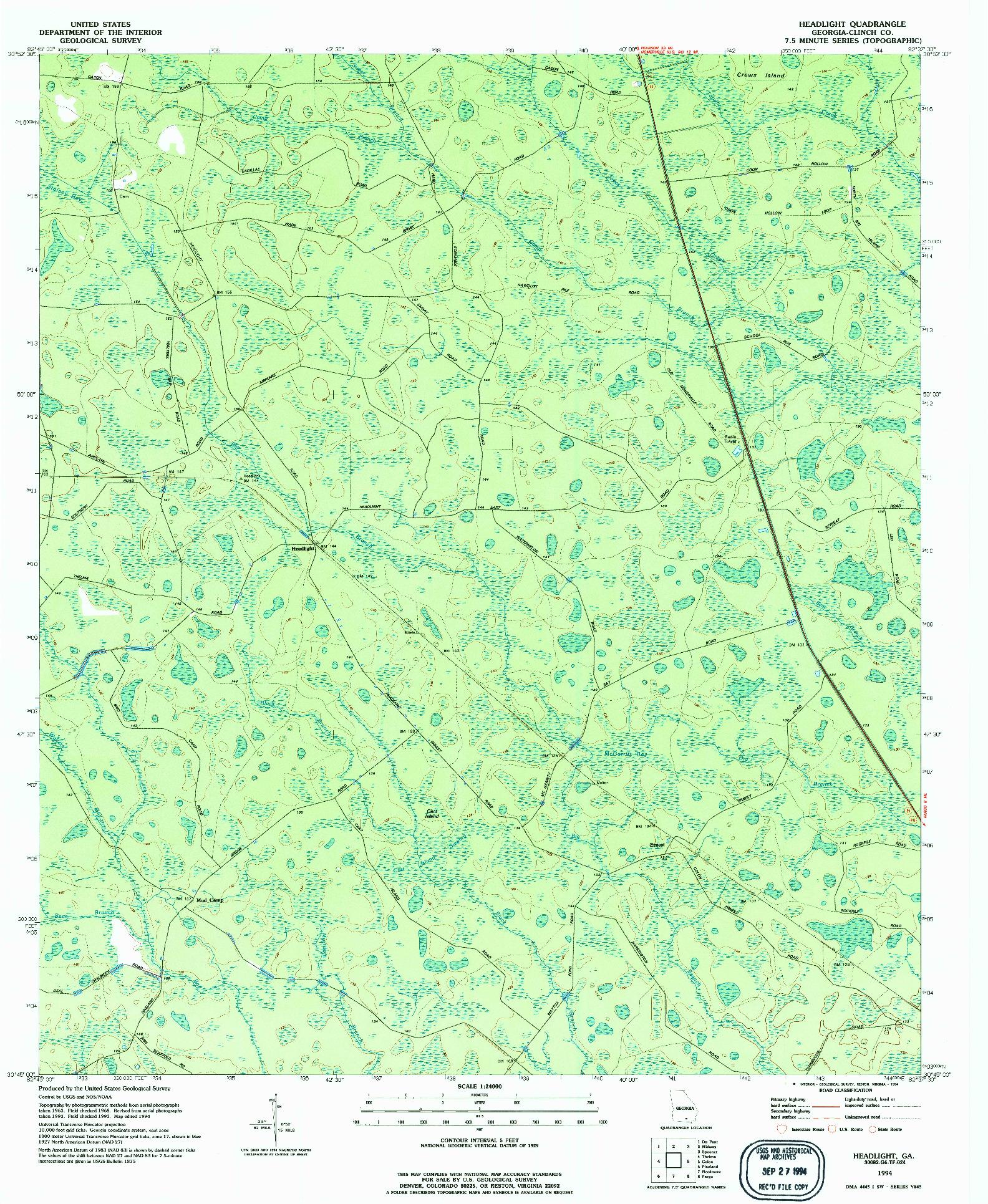 USGS 1:24000-SCALE QUADRANGLE FOR HEADLIGHT, GA 1994