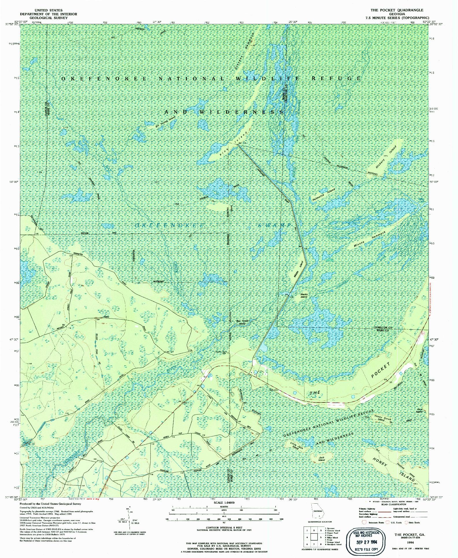USGS 1:24000-SCALE QUADRANGLE FOR THE POCKET, GA 1994