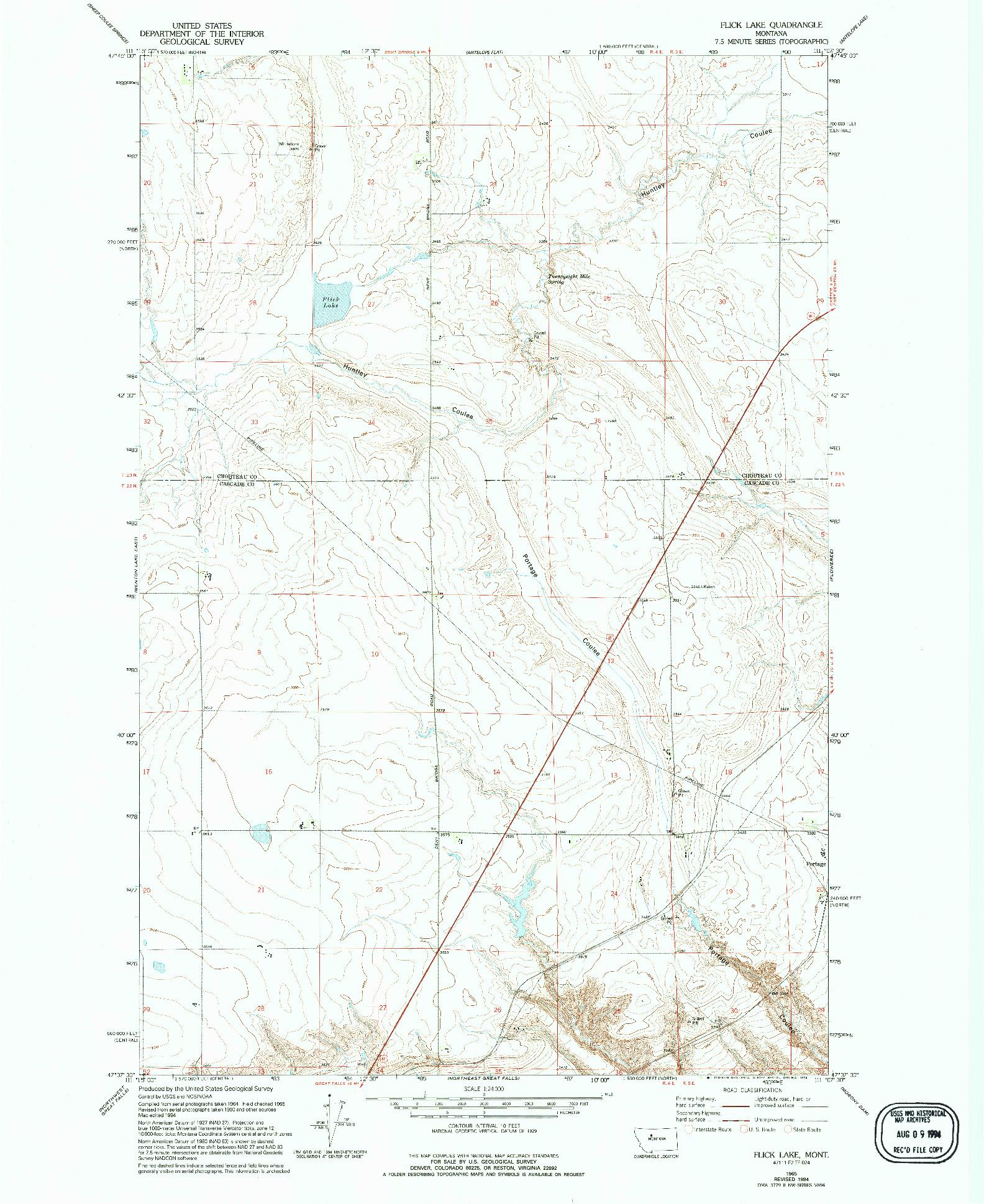 USGS 1:24000-SCALE QUADRANGLE FOR FLICK LAKE, MT 1965