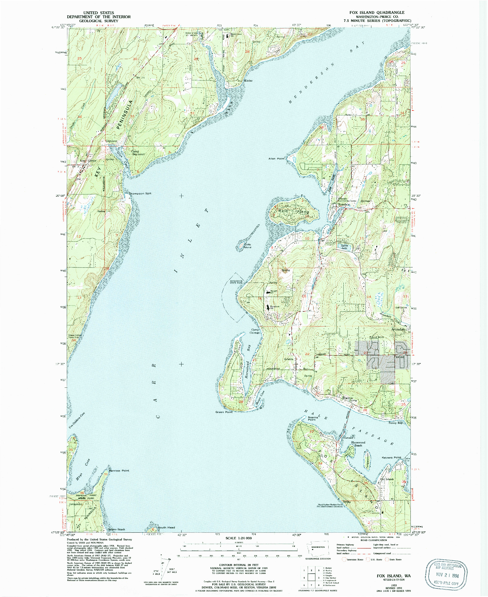 USGS 1:24000-SCALE QUADRANGLE FOR FOX ISLAND, WA 1953