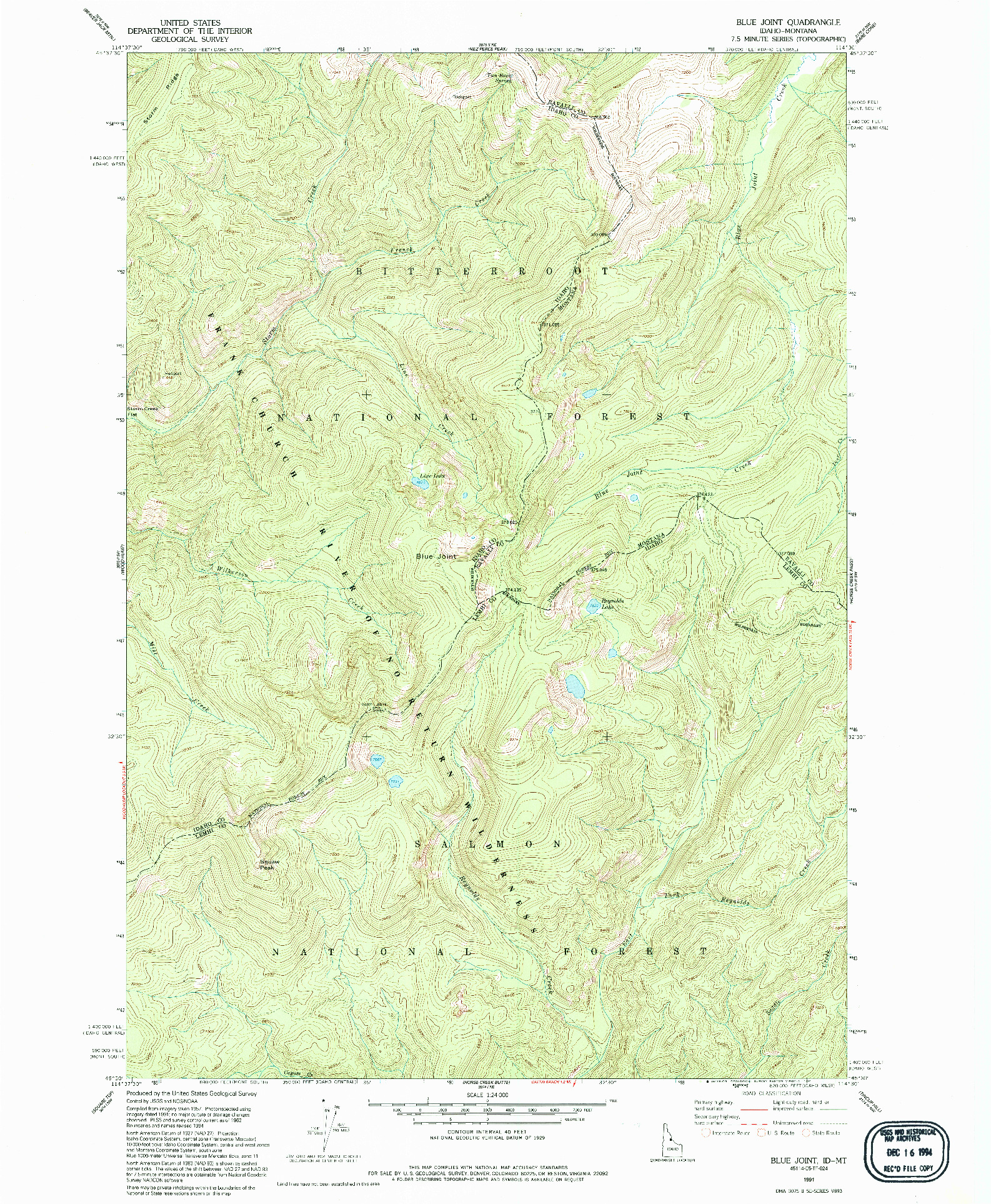 USGS 1:24000-SCALE QUADRANGLE FOR BLUE JOINT, ID 1991