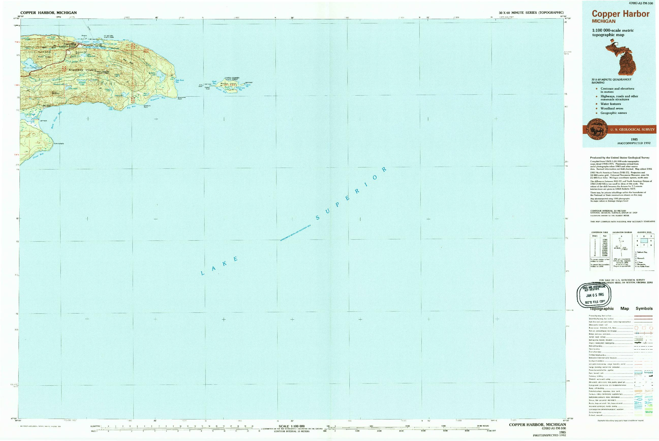 USGS 1:100000-SCALE QUADRANGLE FOR COPPER HARBOR, MI 1985