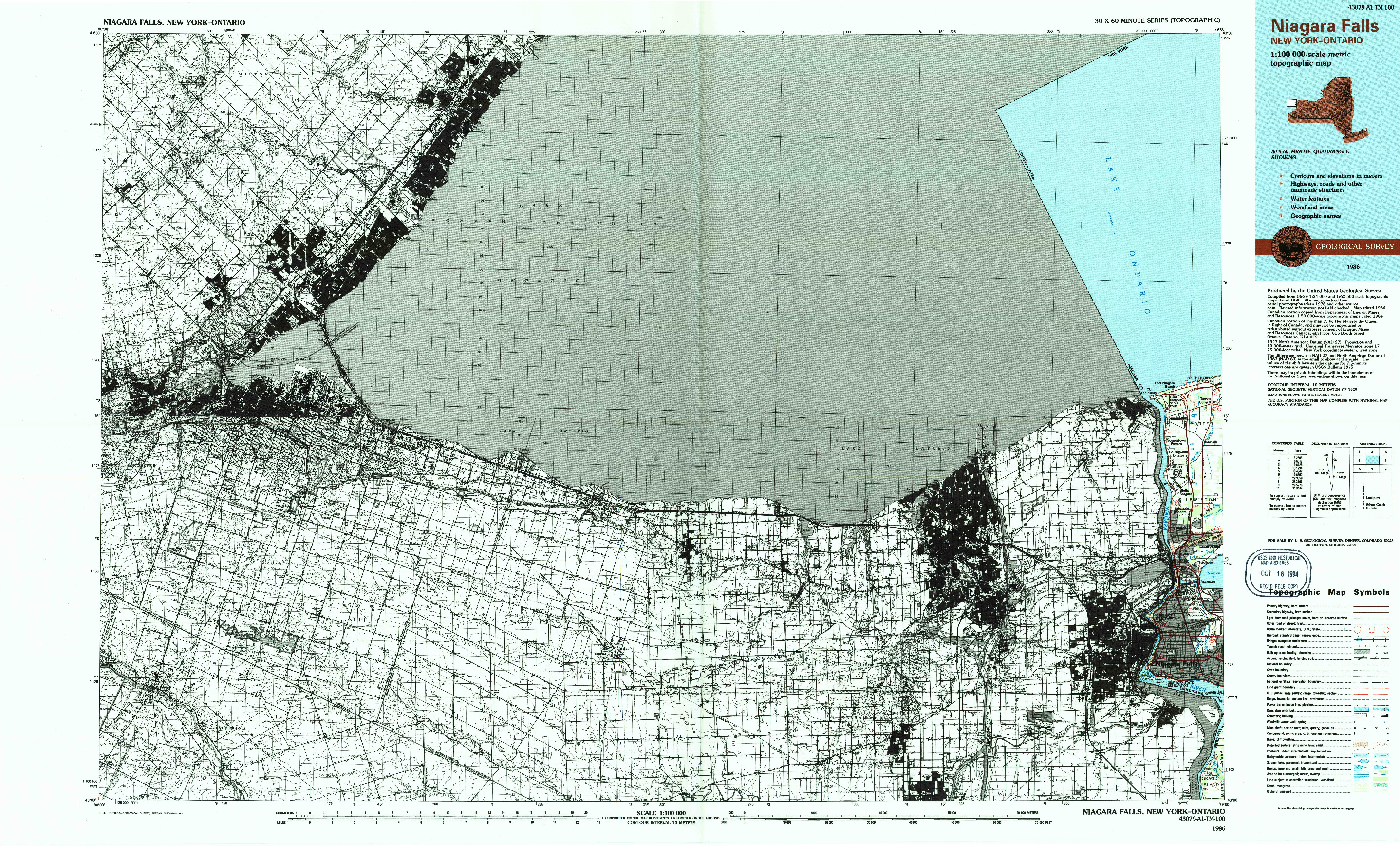USGS 1:100000-SCALE QUADRANGLE FOR NIAGARA FALLS, NY 1986