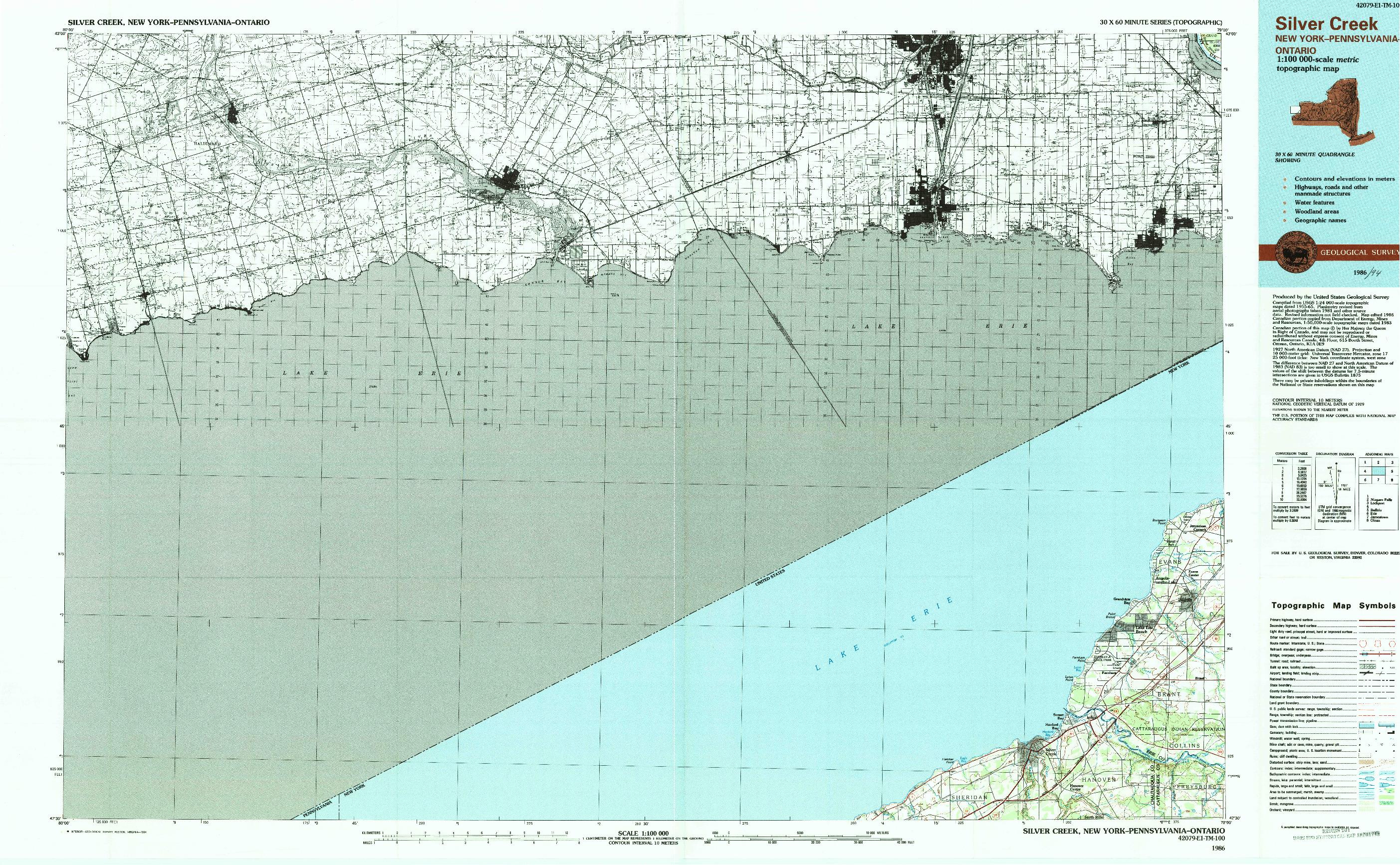 USGS 1:100000-SCALE QUADRANGLE FOR SILVER CREEK, NY 1986