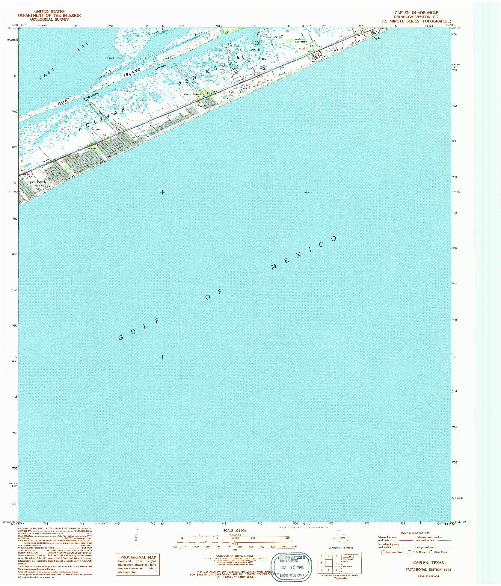USGS 1:24000-SCALE QUADRANGLE FOR CAPLEN, TX 1994