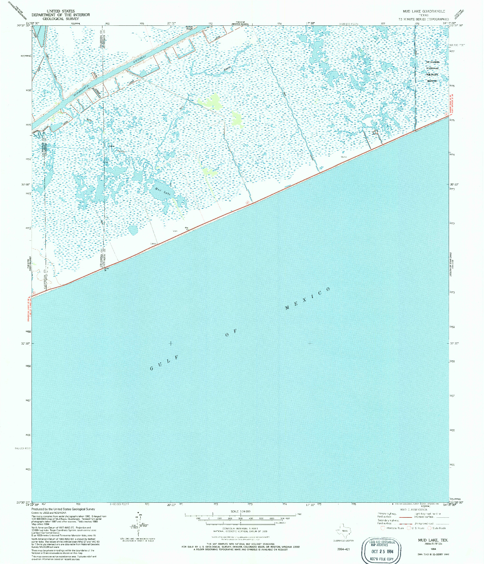 USGS 1:24000-SCALE QUADRANGLE FOR MUD LAKE, TX 1994