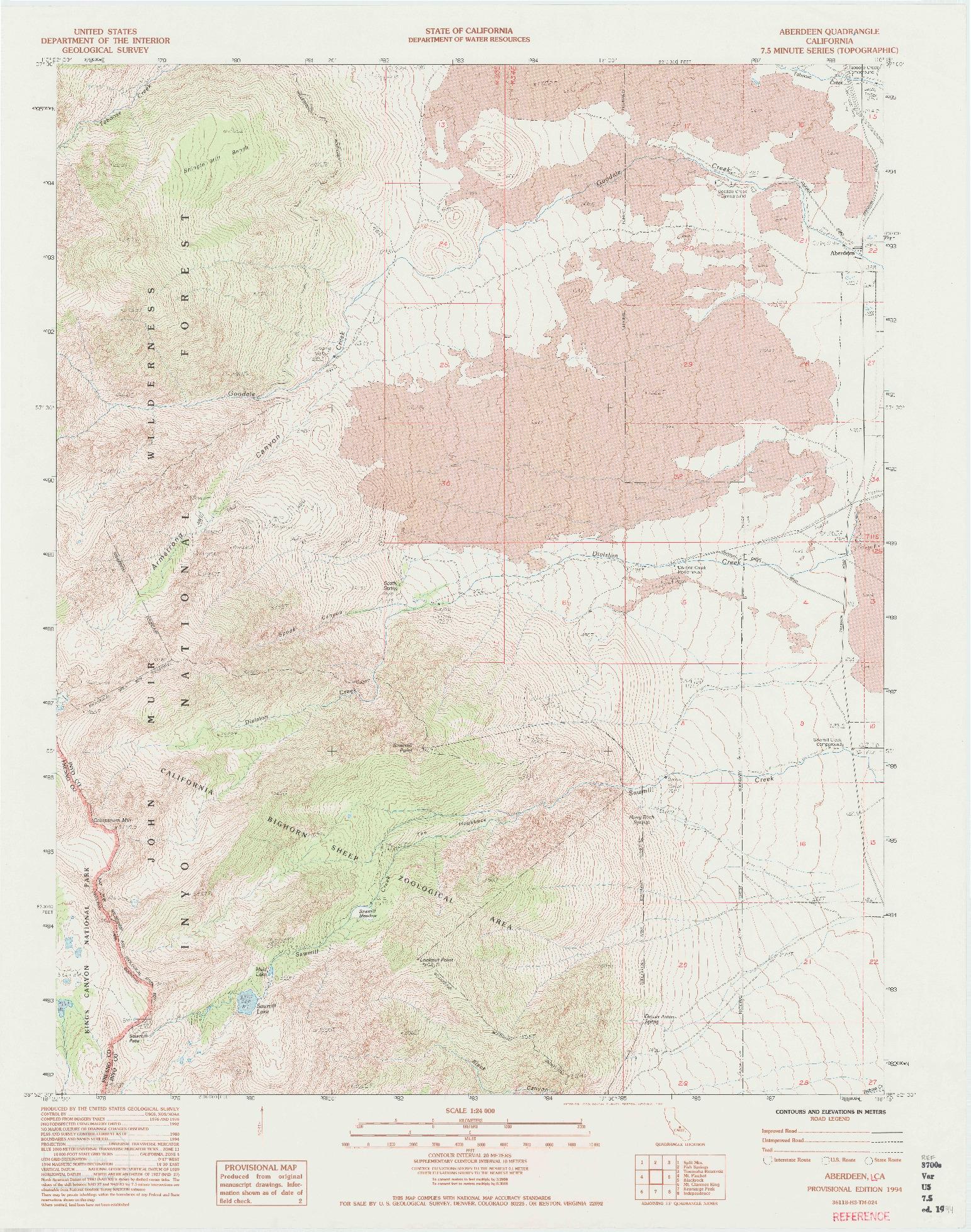 USGS 1:24000-SCALE QUADRANGLE FOR ABERDEEN, CA 1994