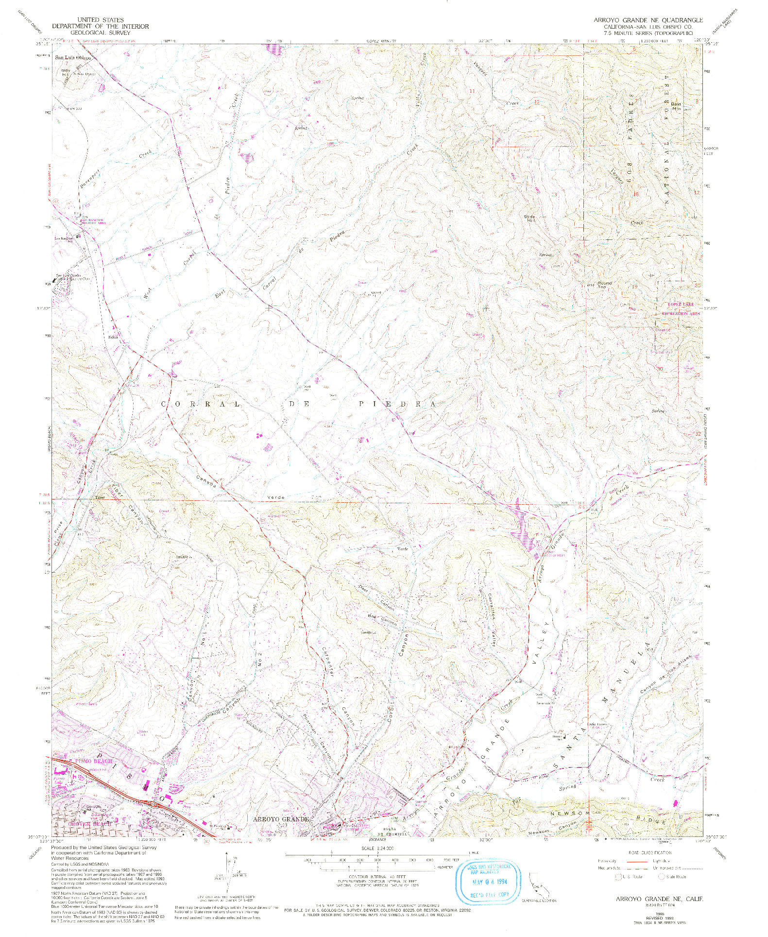 USGS 1:24000-SCALE QUADRANGLE FOR ARROYO GRANDE NE, CA 1965
