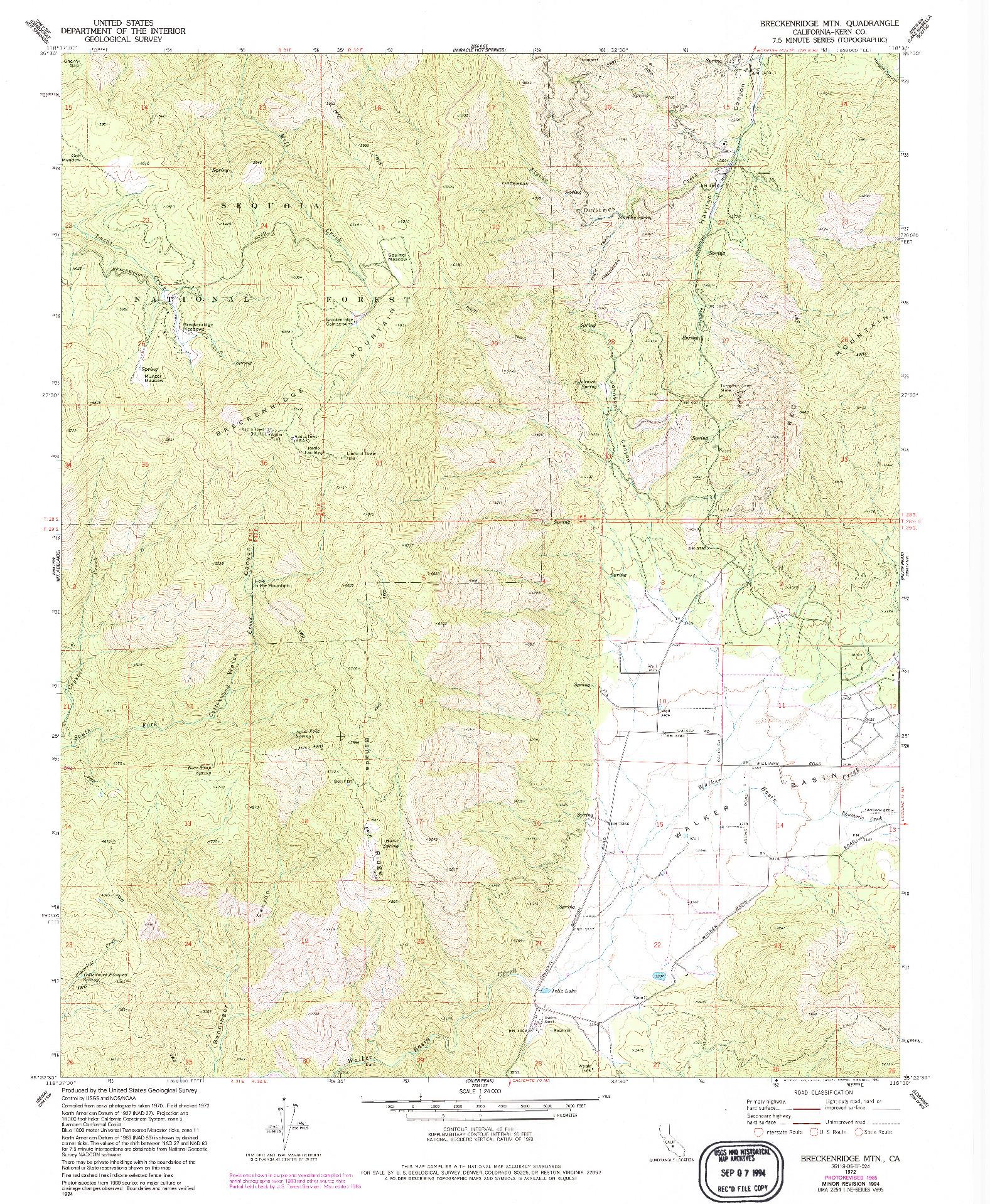 USGS 1:24000-SCALE QUADRANGLE FOR BRECKENRIDGE MOUNTAIN, CA 1972