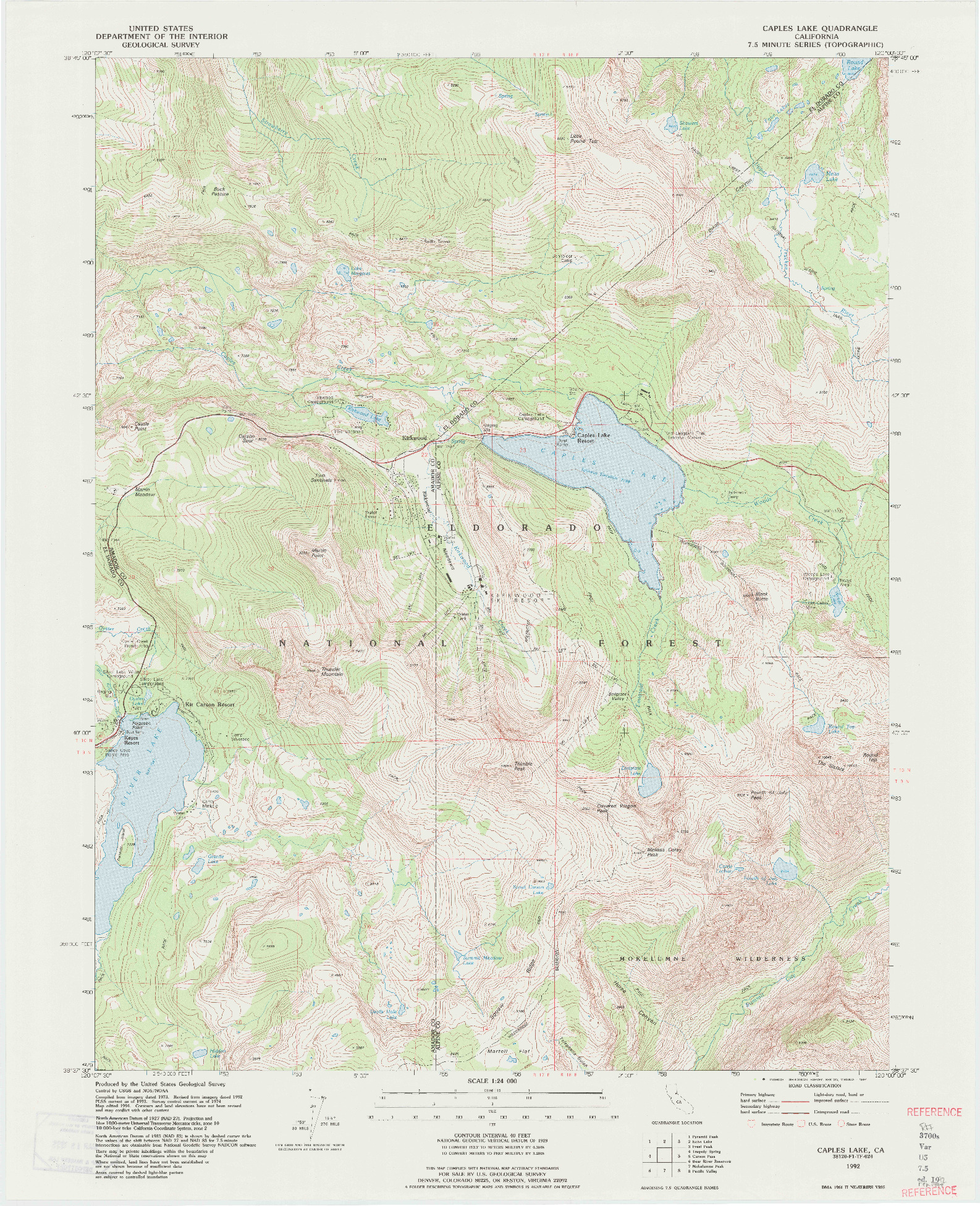 USGS 1:24000-SCALE QUADRANGLE FOR CAPLES LAKE, CA 1992