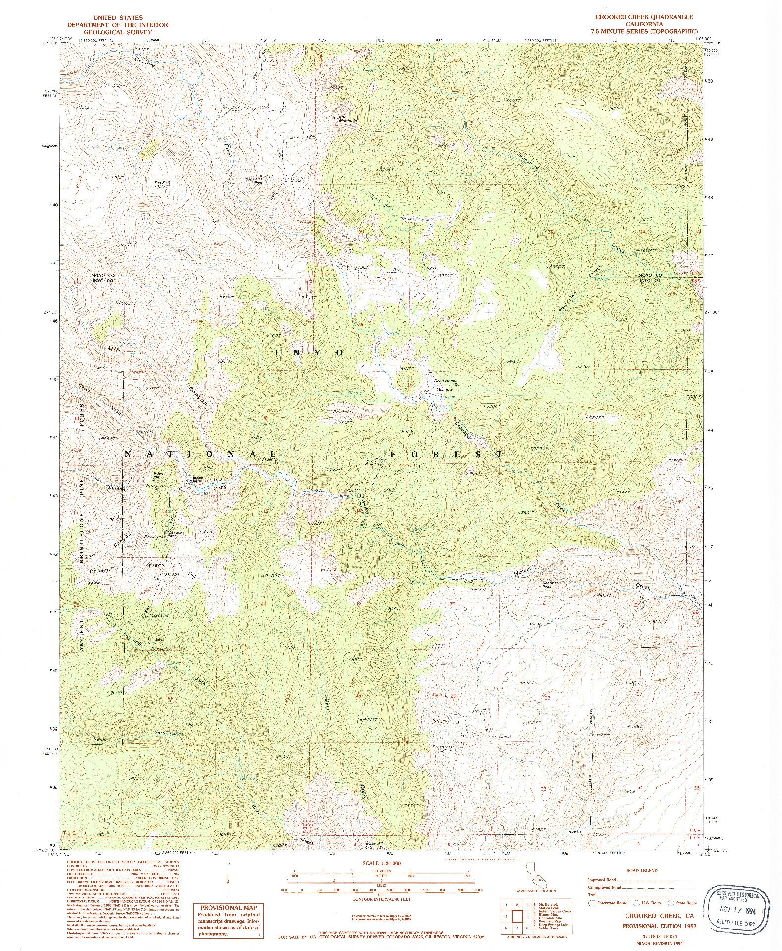 USGS 1:24000-SCALE QUADRANGLE FOR CROOKED CREEK, CA 1987