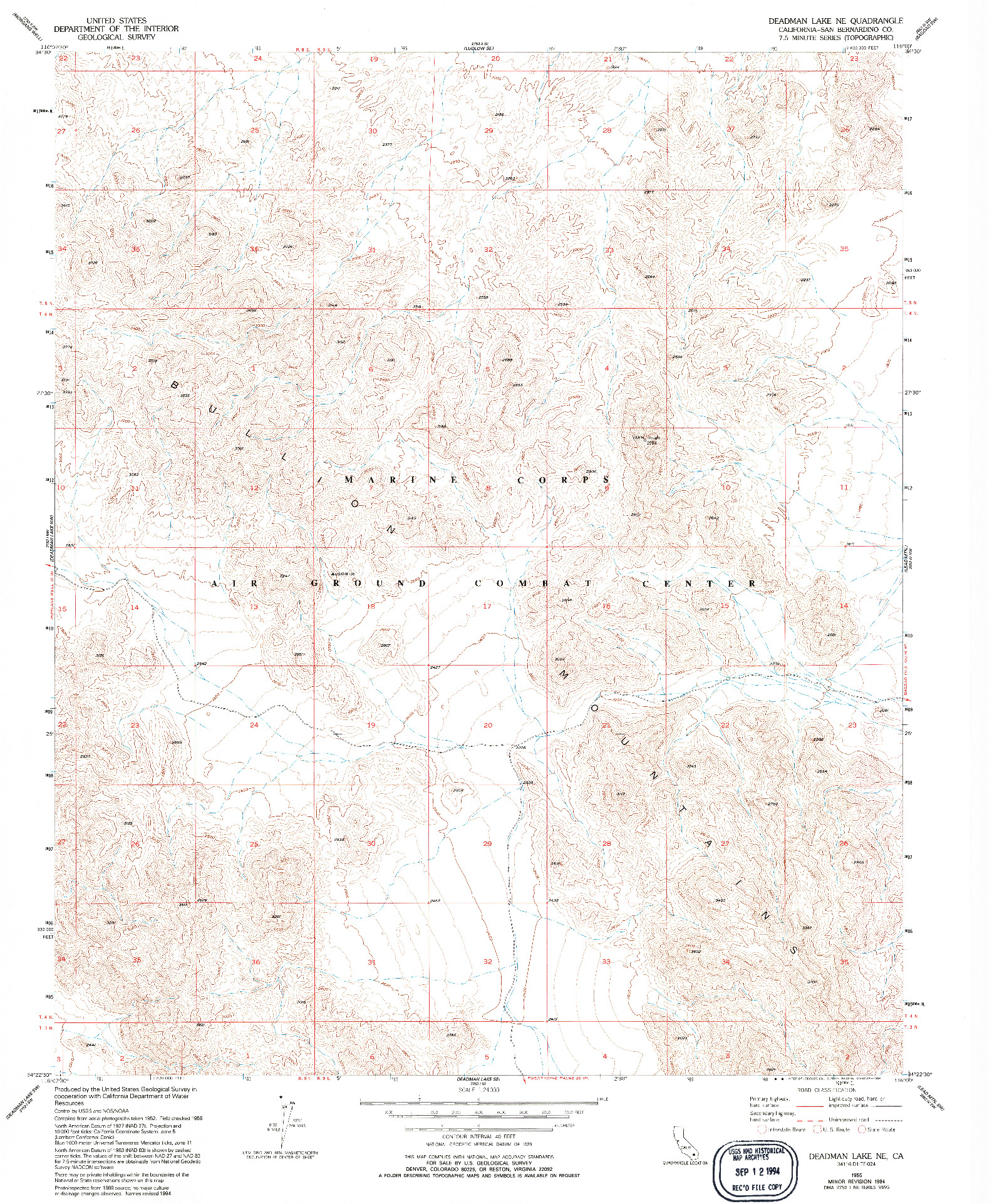 USGS 1:24000-SCALE QUADRANGLE FOR DEADMAN LAKE NE, CA 1955